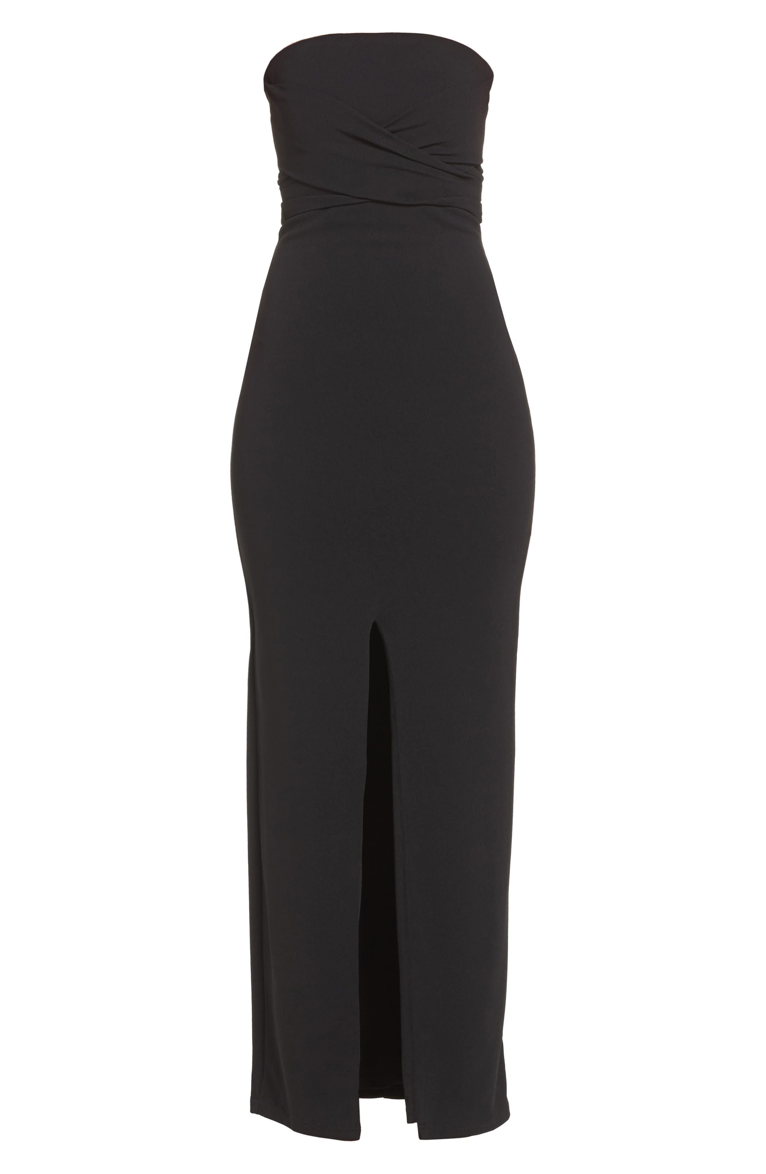 LULUS, Own the Night Strapless Maxi Dress, Alternate thumbnail 7, color, BLACK
