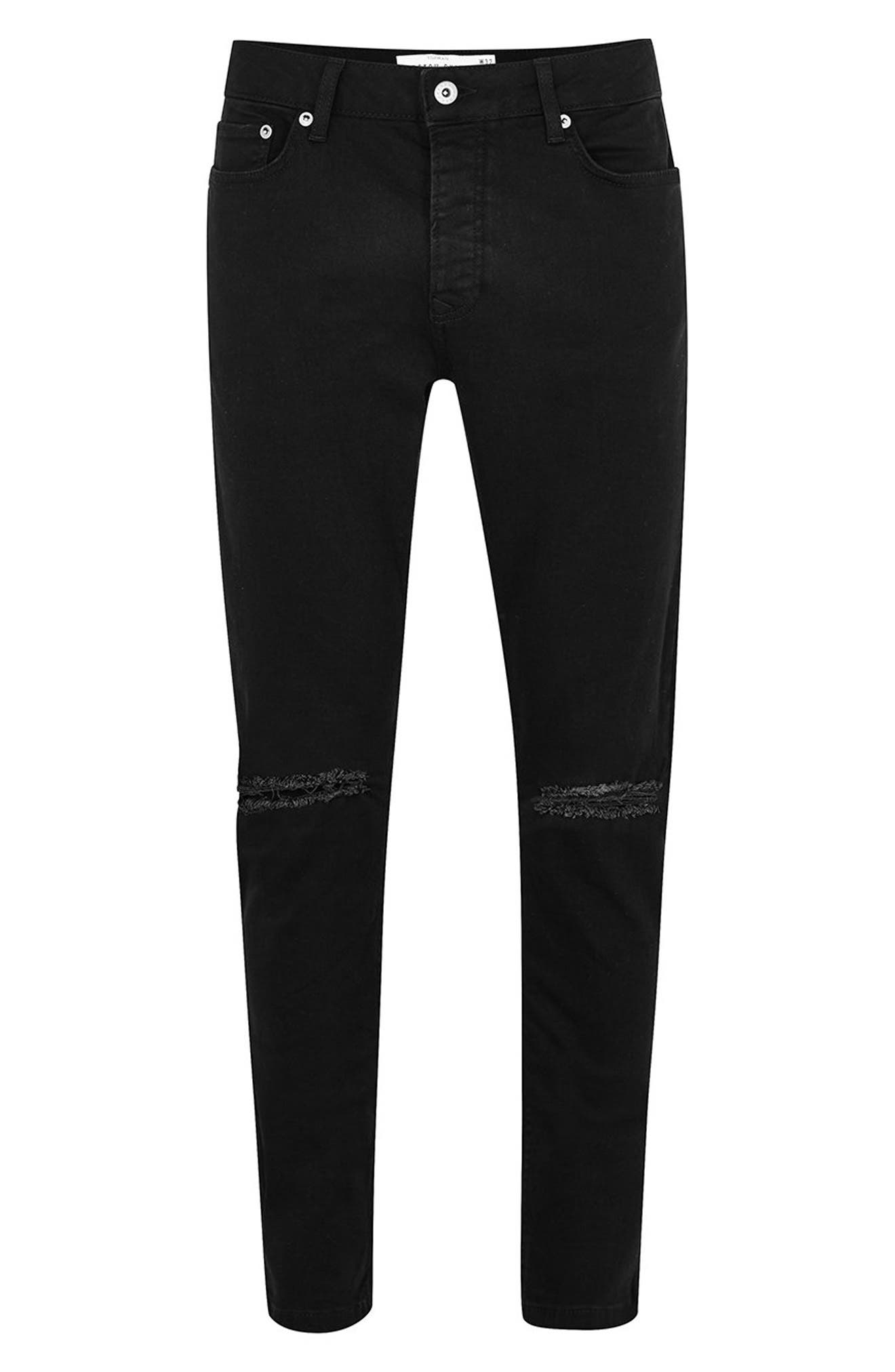 TOPMAN, Double Ripped Skinny Fit Jeans, Alternate thumbnail 5, color, BLACK
