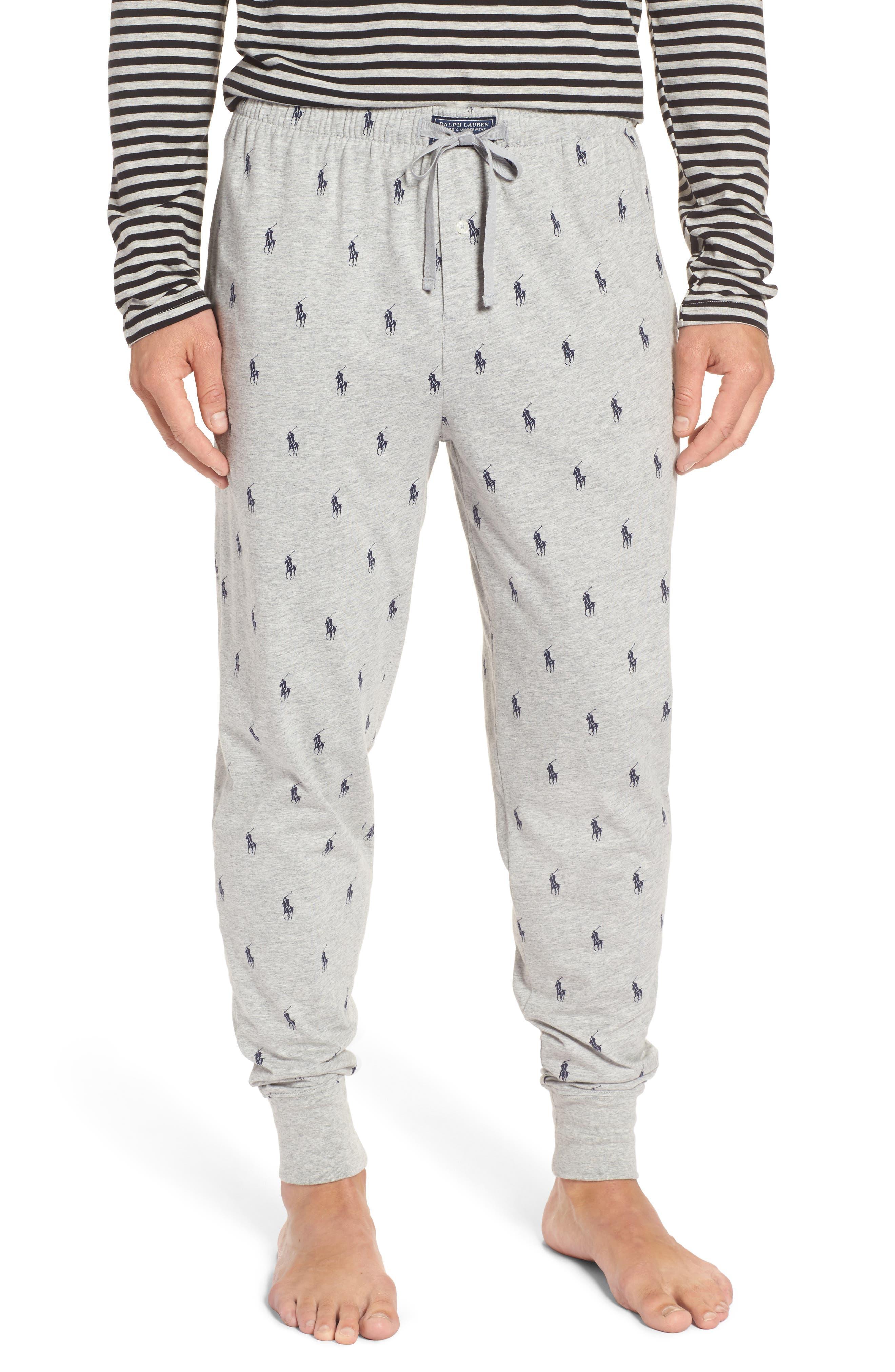 POLO RALPH LAUREN Pony Print Pajama Pants, Main, color, ANDOVER GREY