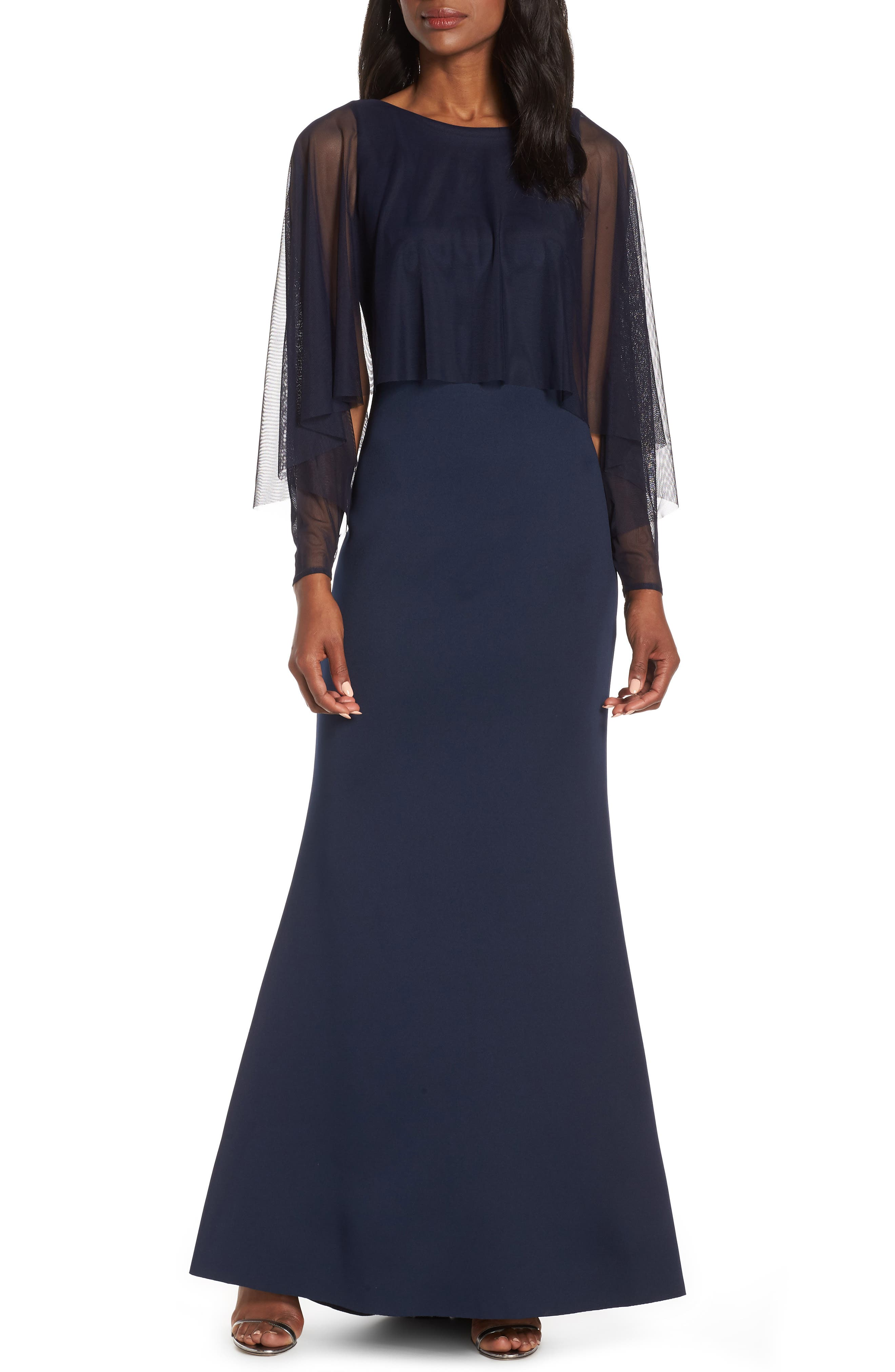 ELIZA J Mesh Popover Sleeve Scuba Evening Dress, Main, color, NAVY