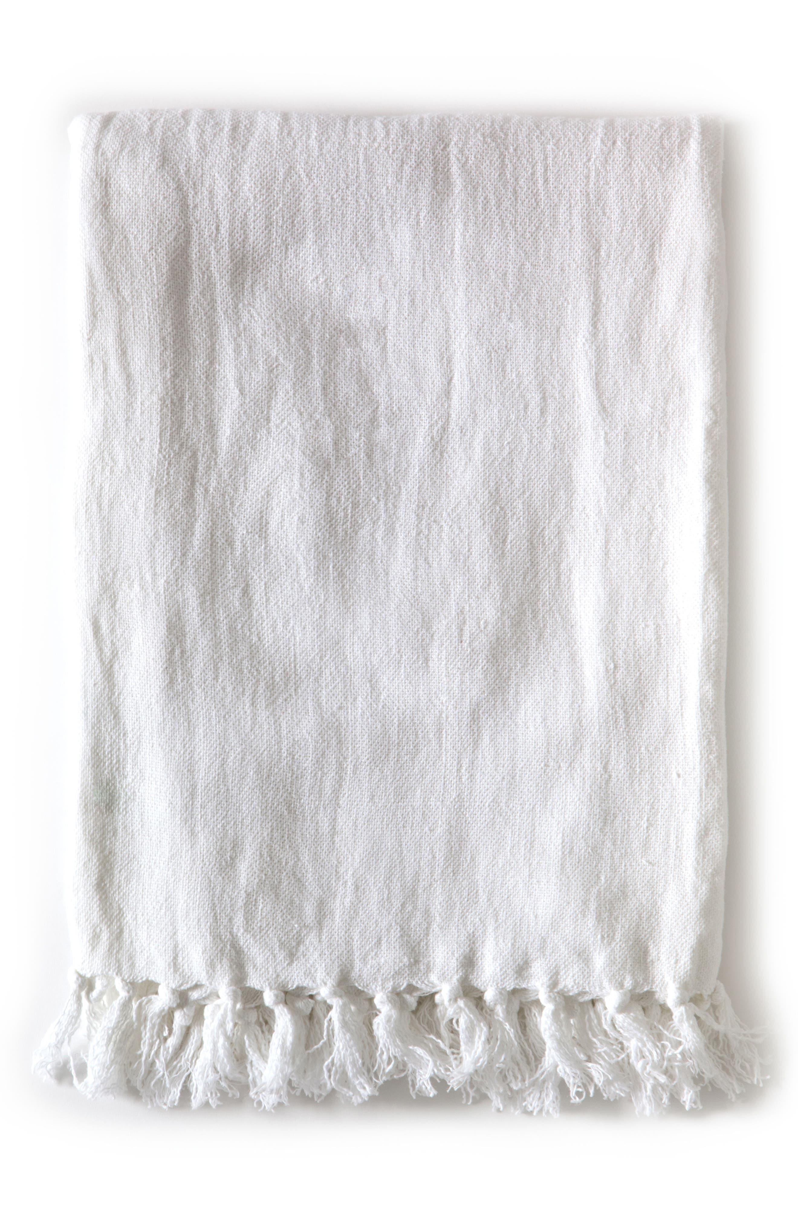 POM POM AT HOME, Montauk Throw Blanket, Main thumbnail 1, color, WHITE