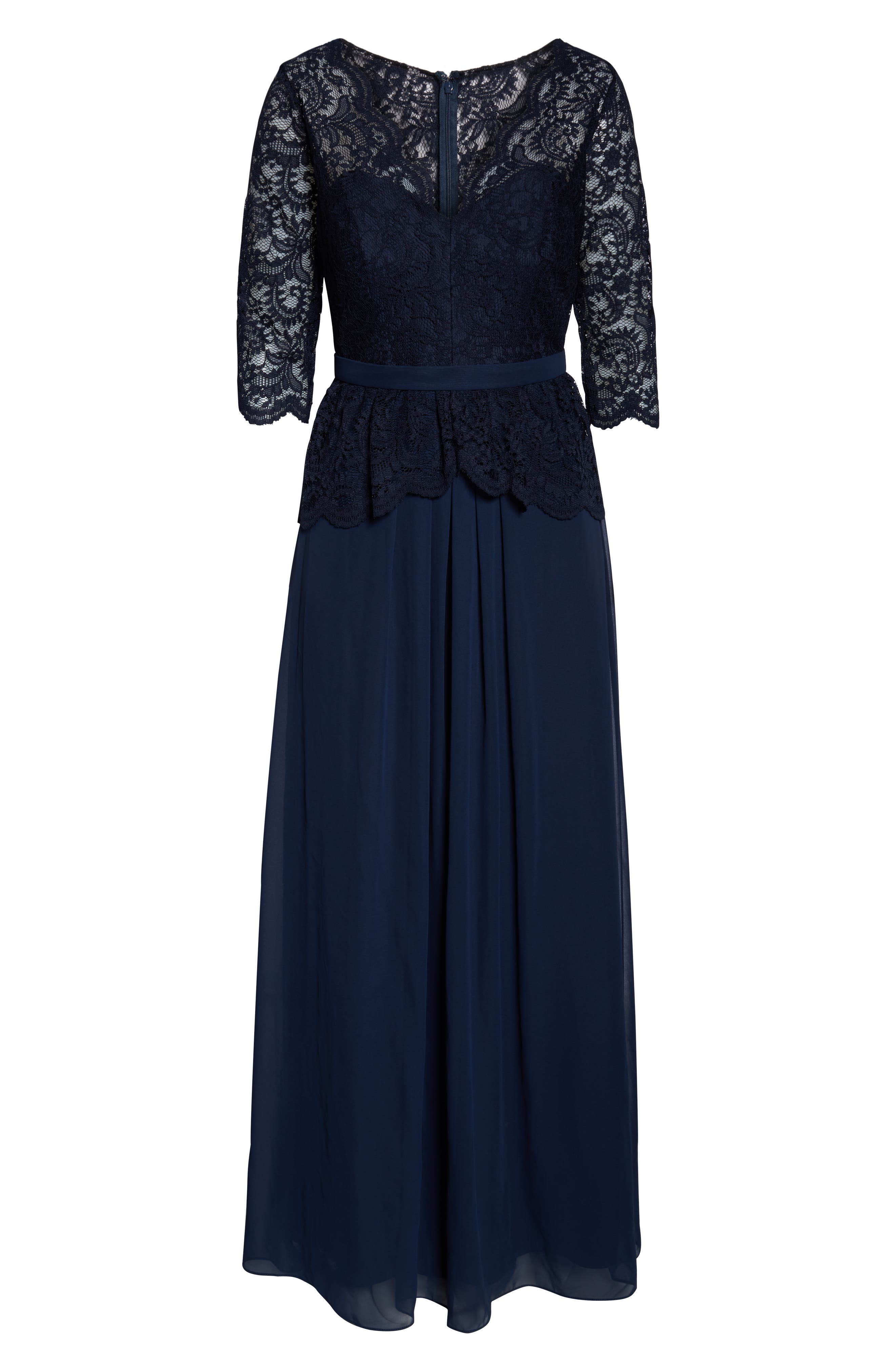 JENNY PACKHAM, Lux Chiffon Gown, Alternate thumbnail 3, color, MIDNIGHT