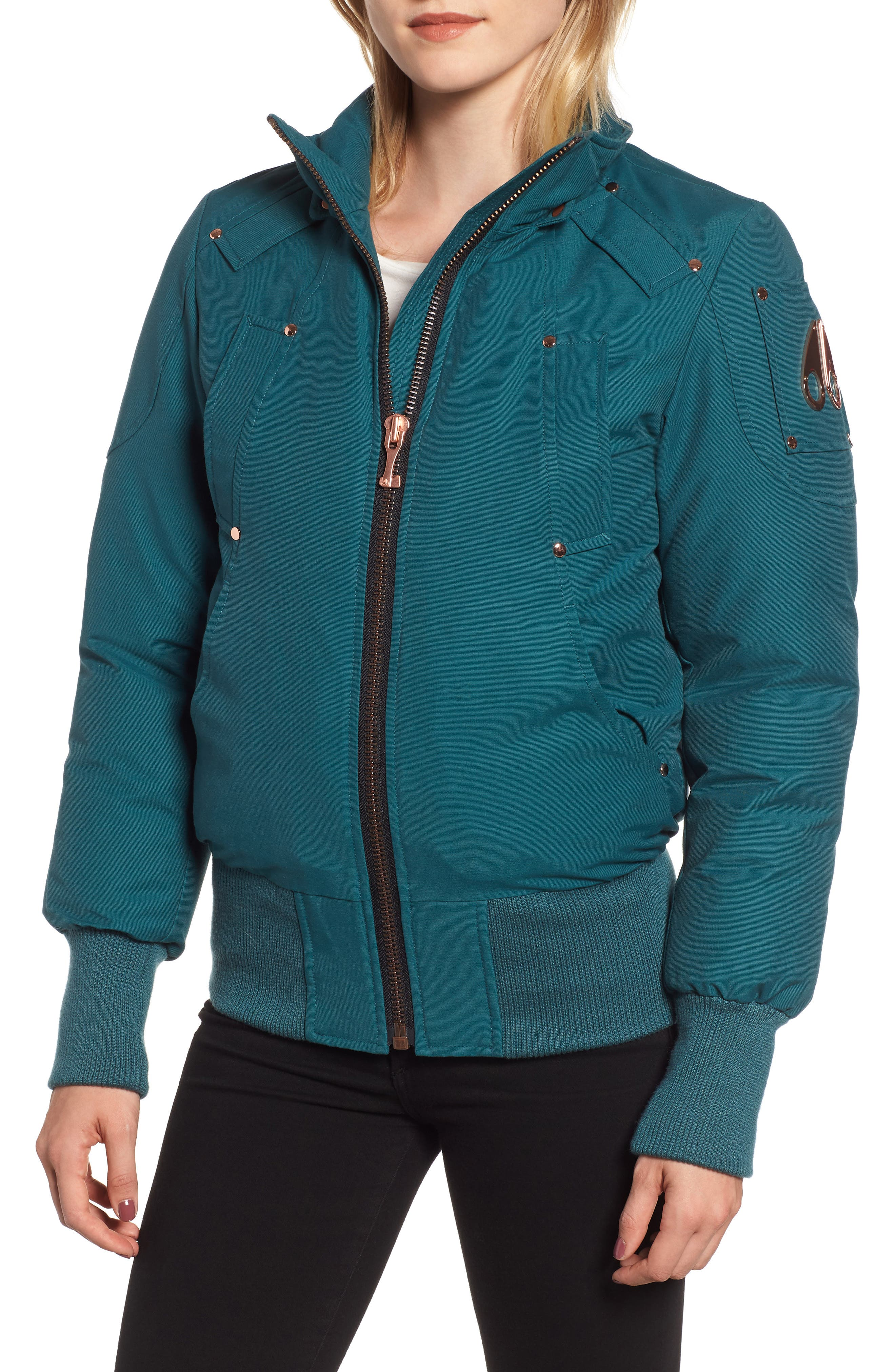 MOOSE KNUCKLES, Yorkdale Genuine Fox Fur Trim Down Jacket, Alternate thumbnail 5, color, 315