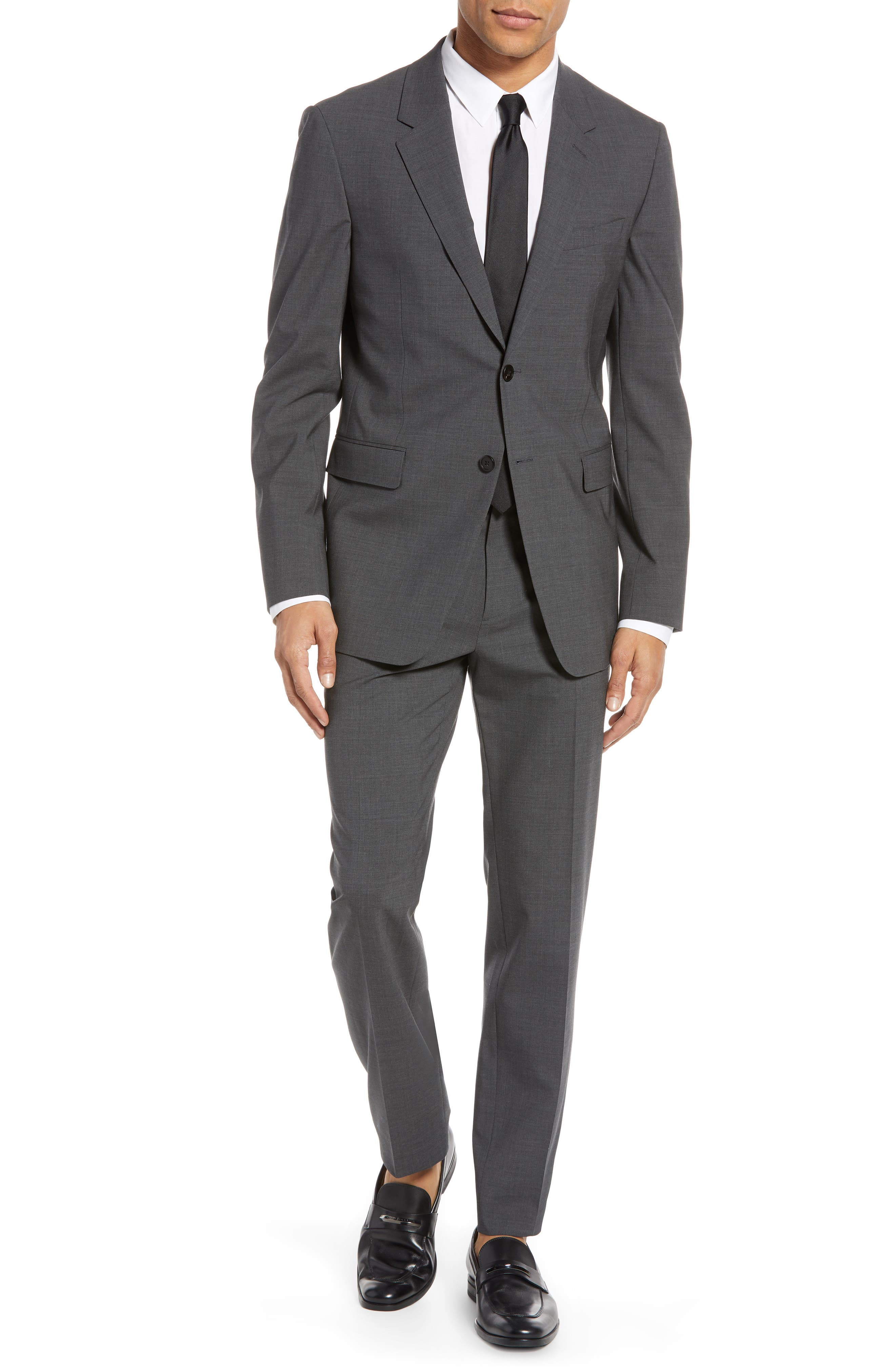 THEORY, Mayer New Tailor 2 Wool Trousers, Alternate thumbnail 7, color, CHARCOAL