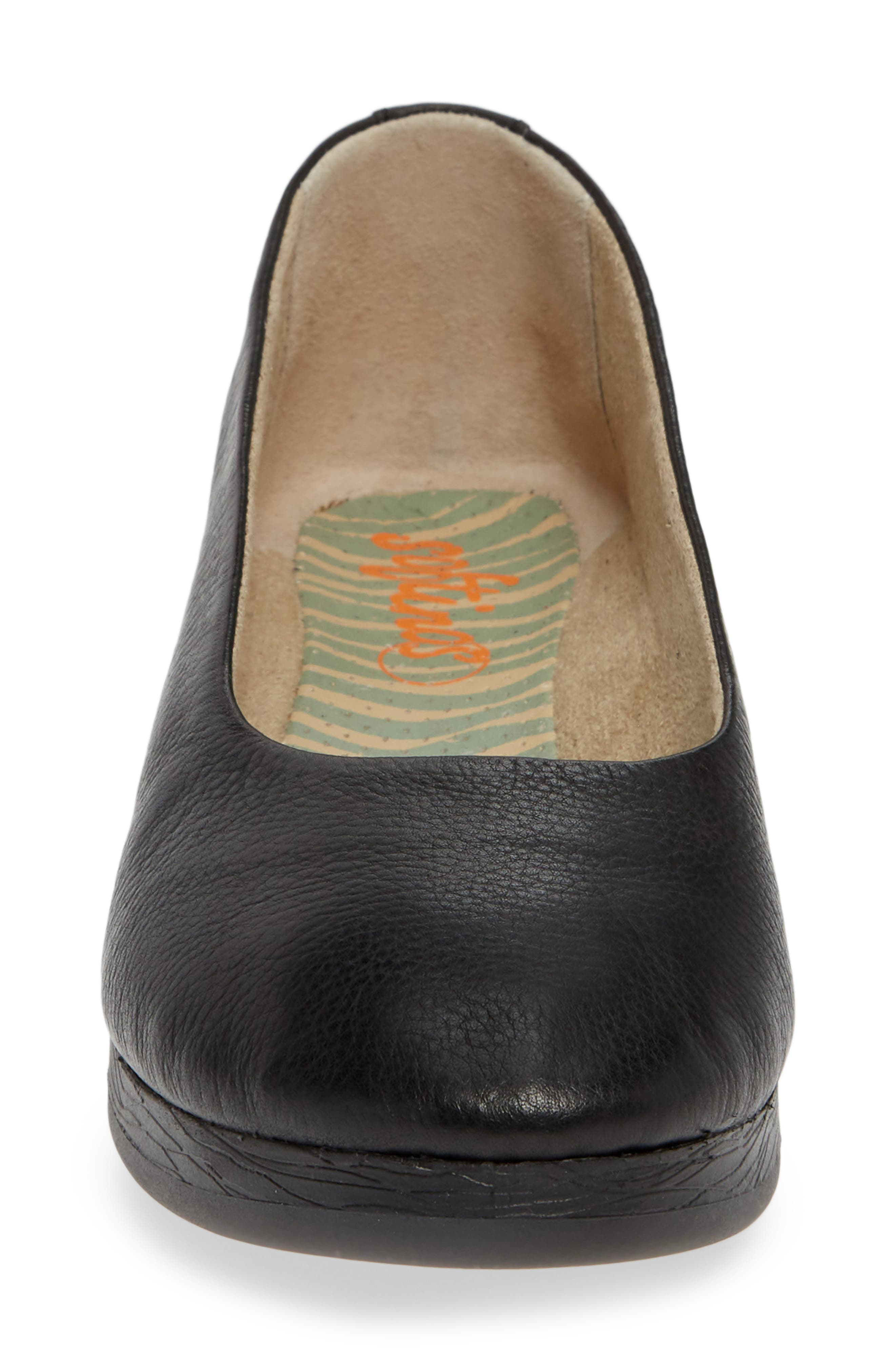SOFTINOS BY FLY LONDON, Asa Soft Flat, Alternate thumbnail 4, color, BLACK SMOOTH LEATHER