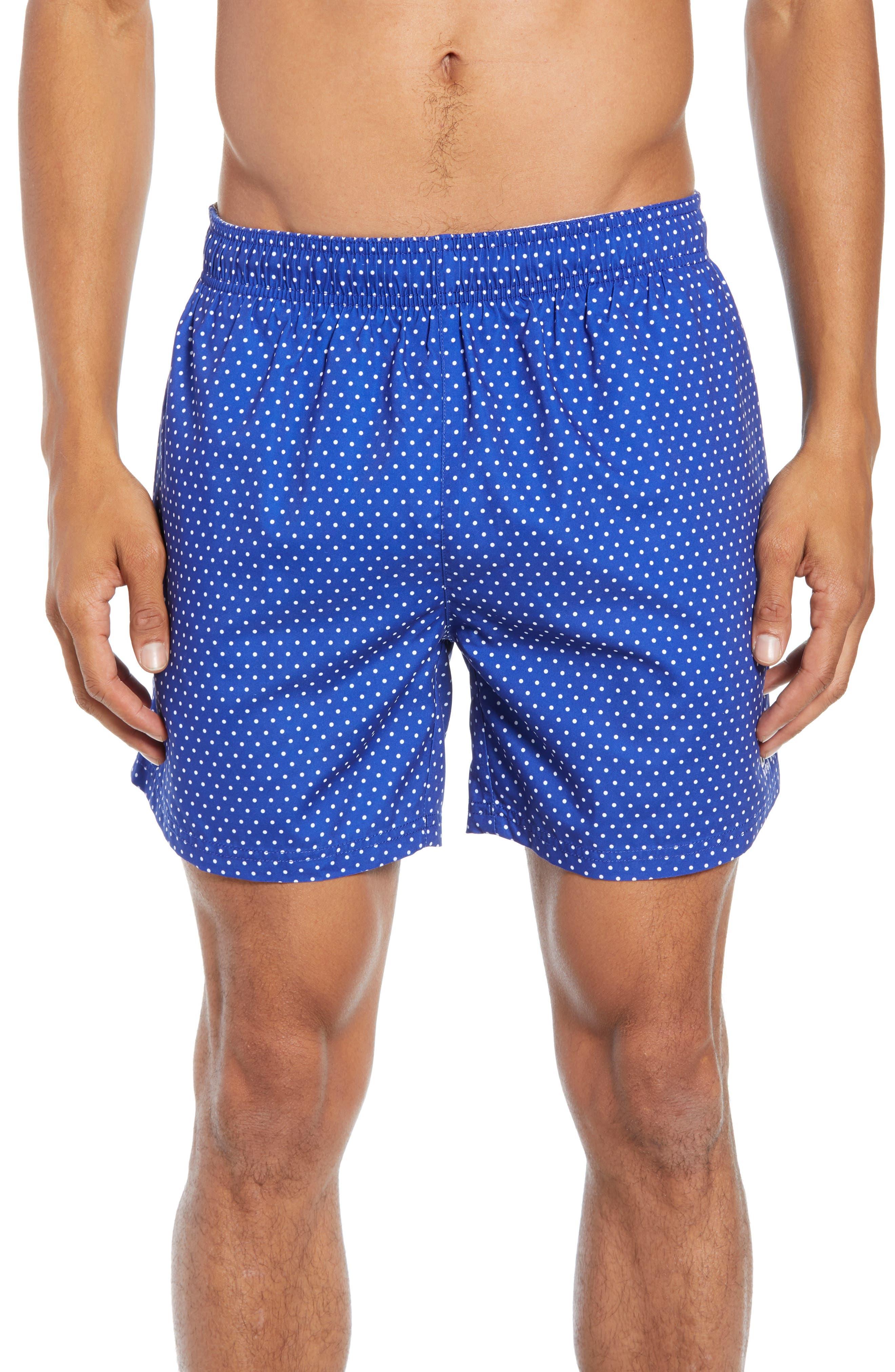 BOSS, Pike Regular Fit Polka Dot Swim Shorts, Main thumbnail 1, color, BLUE