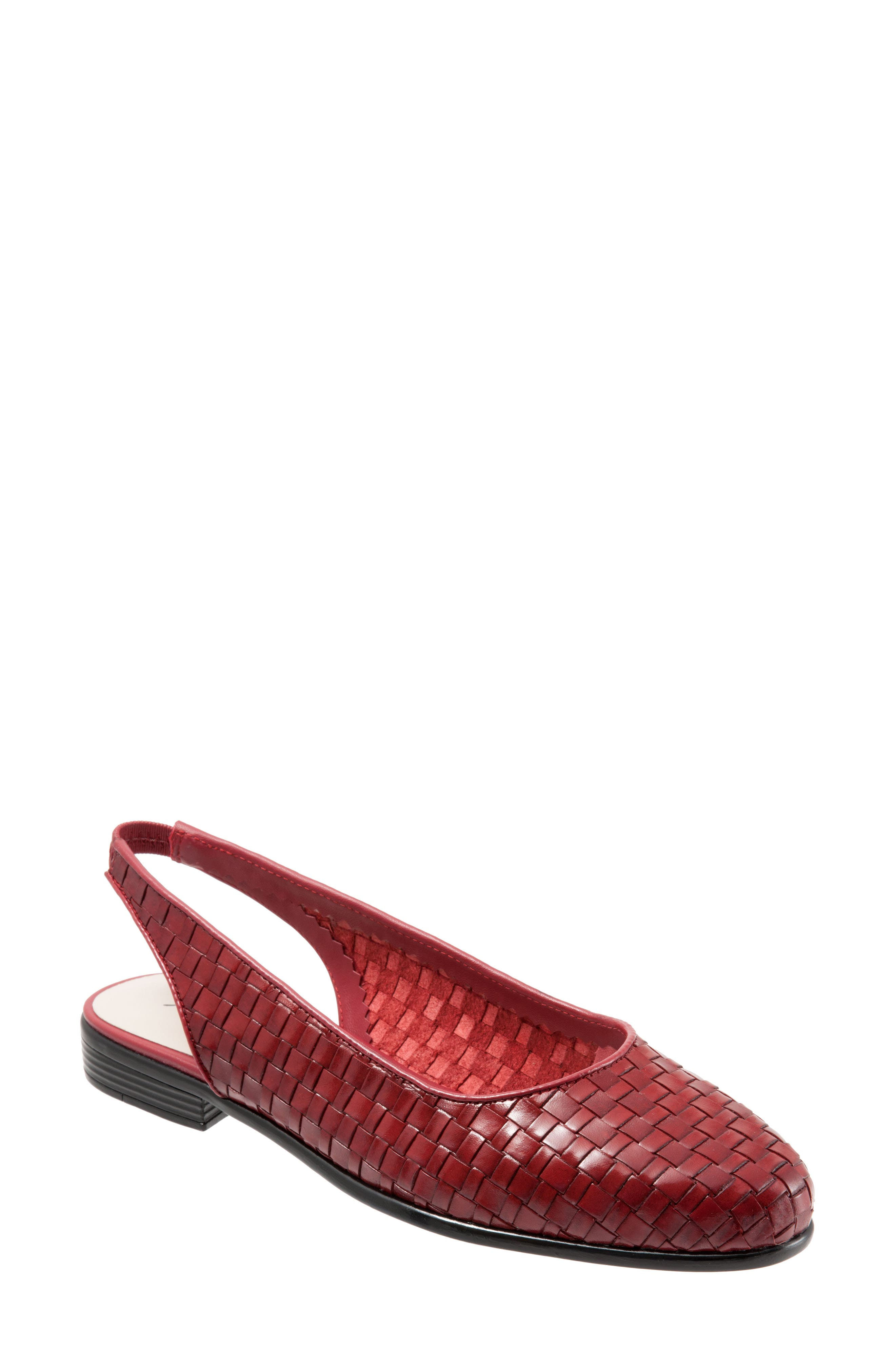 TROTTERS, Lucy Slingback Flat, Main thumbnail 1, color, RED LEATHER