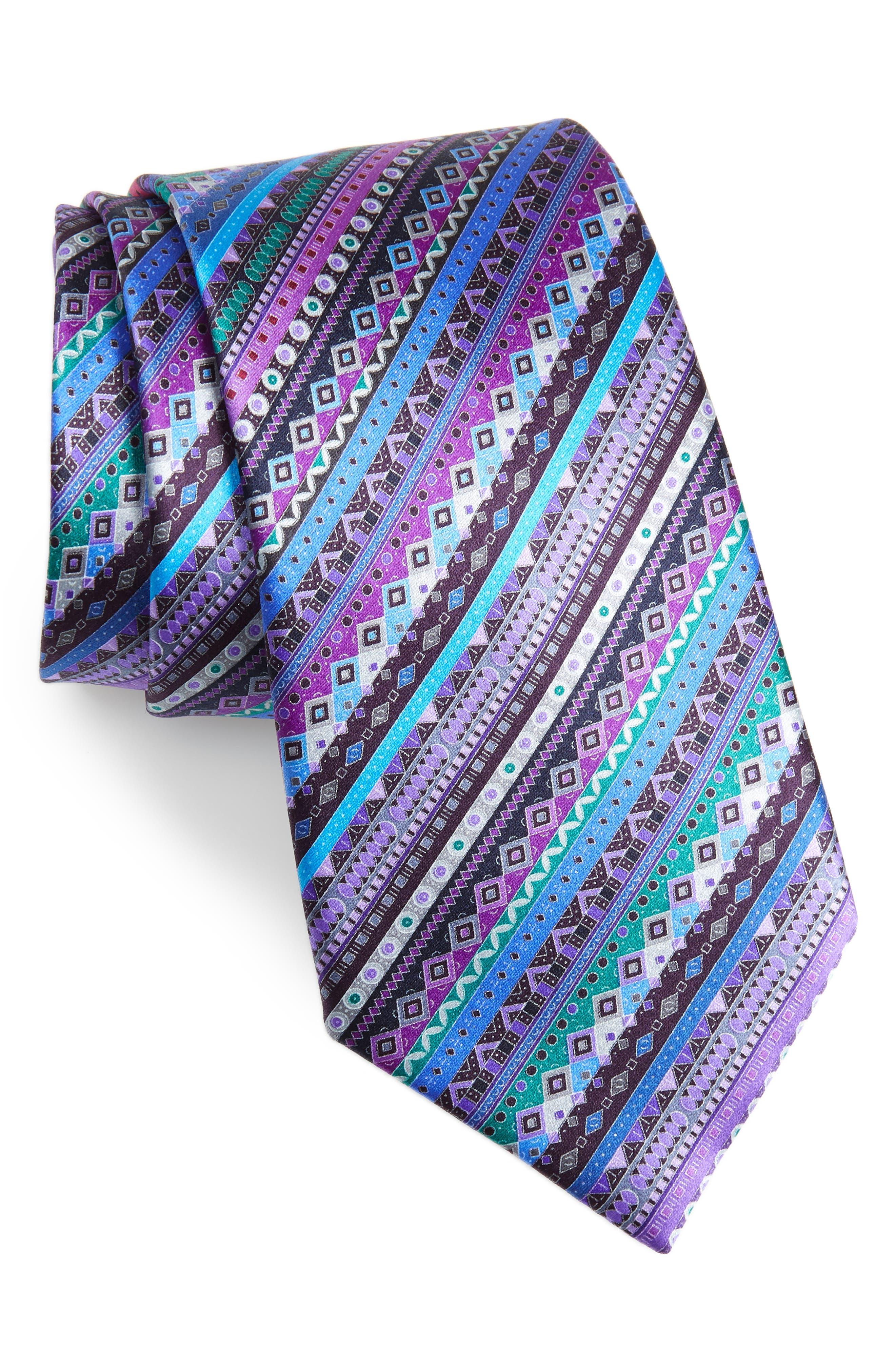 ERMENEGILDO ZEGNA, Venticinque Stripe Silk Tie, Main thumbnail 1, color, PURPLE