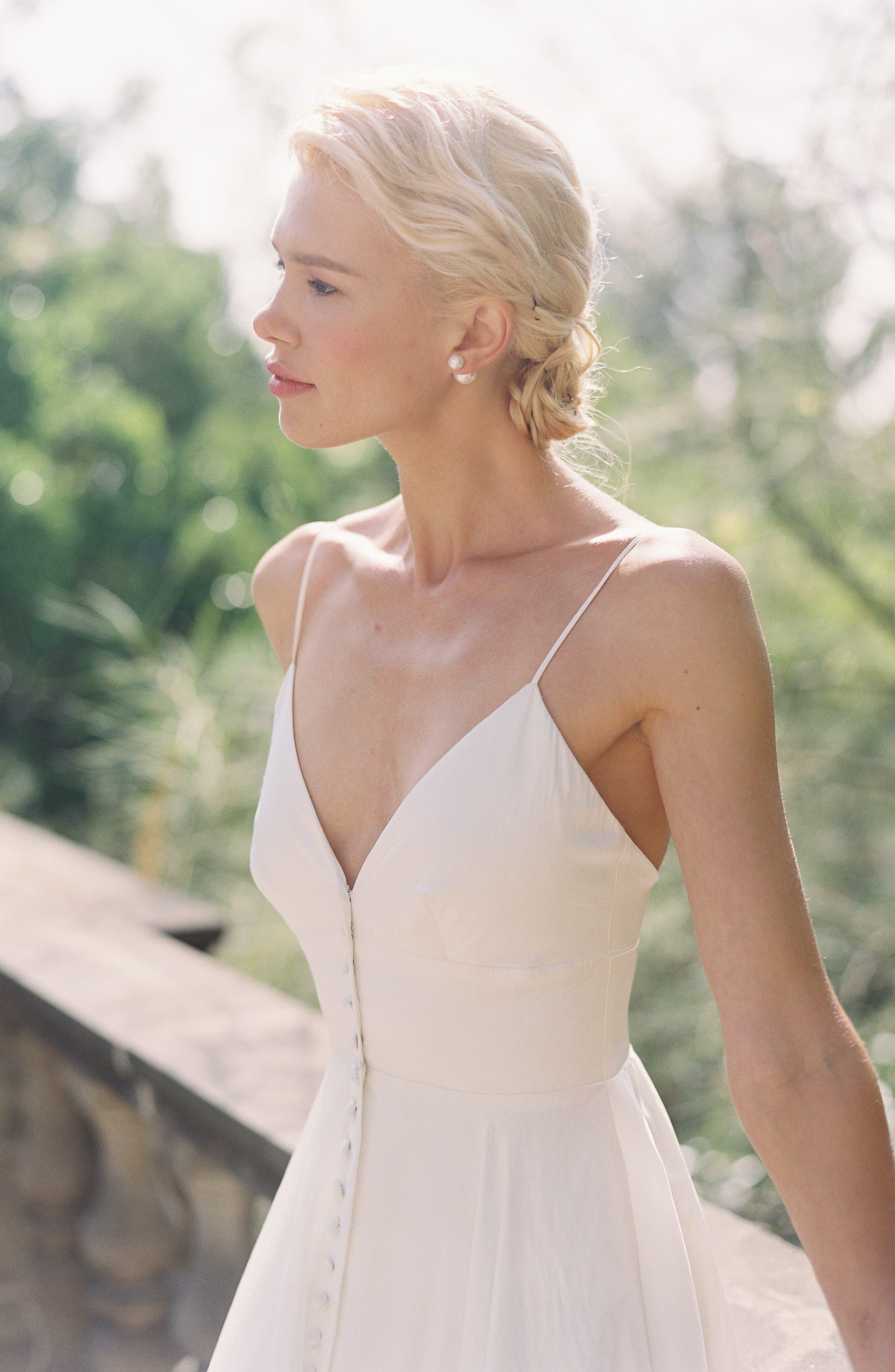 JOANNA AUGUST, Nancy V-Neck Crepe Wedding Dress, Alternate thumbnail 8, color, WHITE