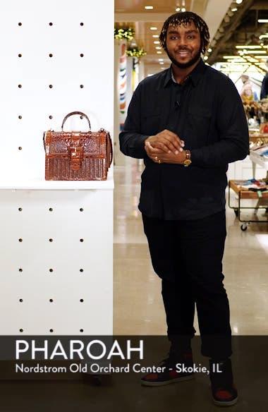 Medium Francine Croc Embossed & Woven Leather Satchel, sales video thumbnail