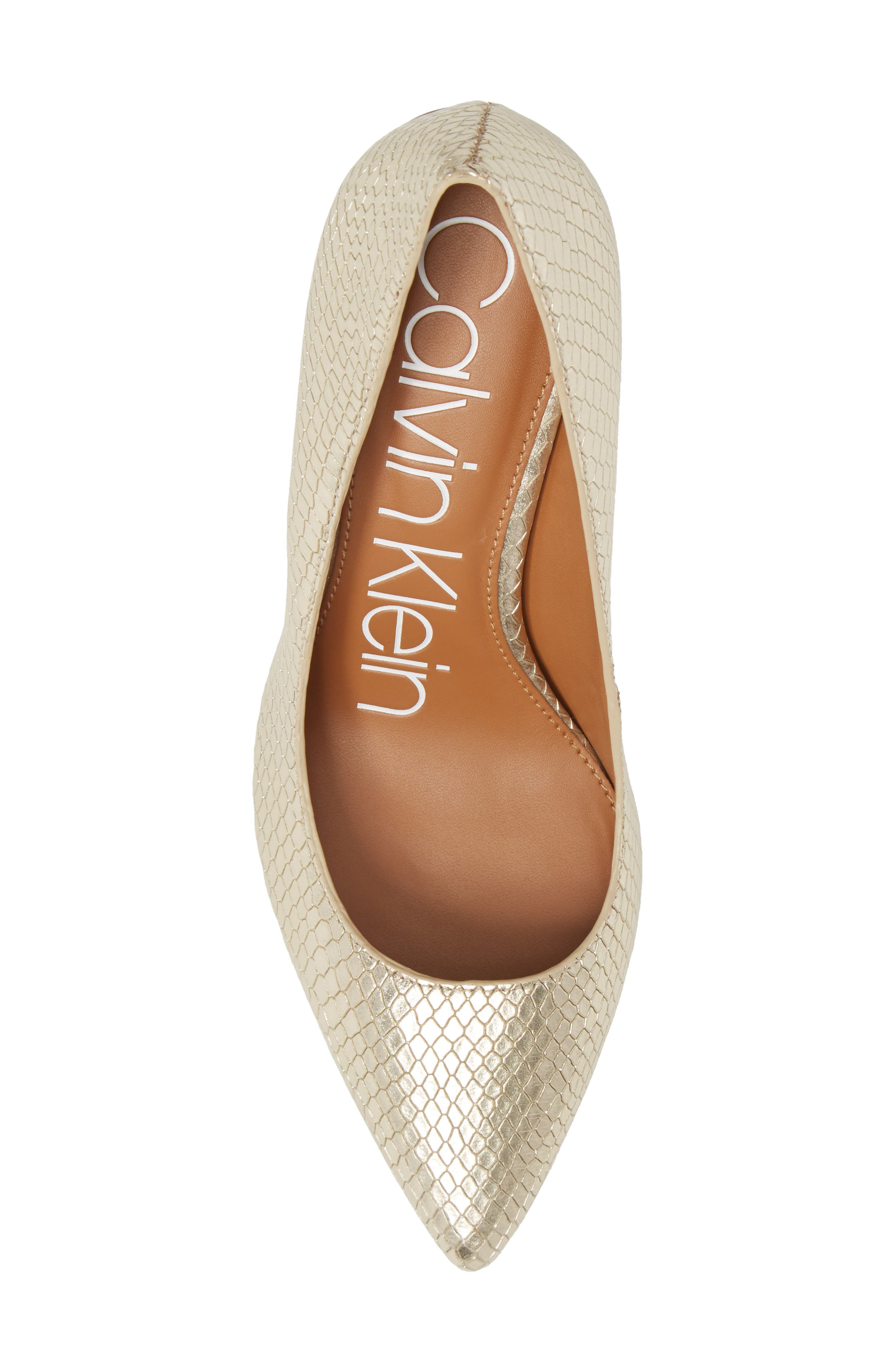 CALVIN KLEIN, 'Gayle' Pointy Toe Pump, Alternate thumbnail 5, color, SOFT GOLD LEATHER