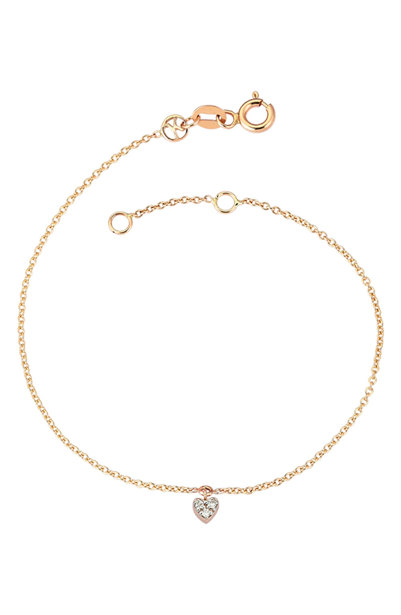 KISMET BY MILKA, Diamond Heart Bracelet, Main thumbnail 1, color, ROSE GOLD
