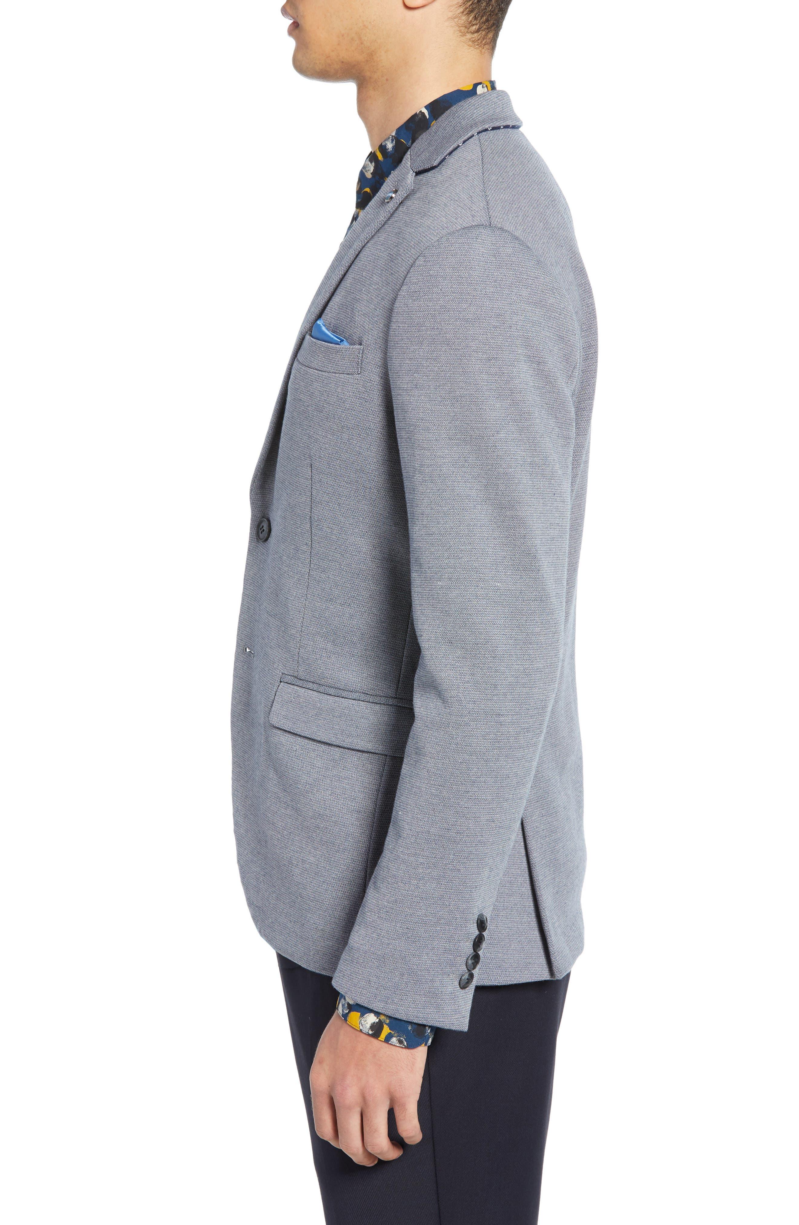 SELECTED HOMME, Slim Fit Sport Coat, Alternate thumbnail 4, color, GREY MELANGE
