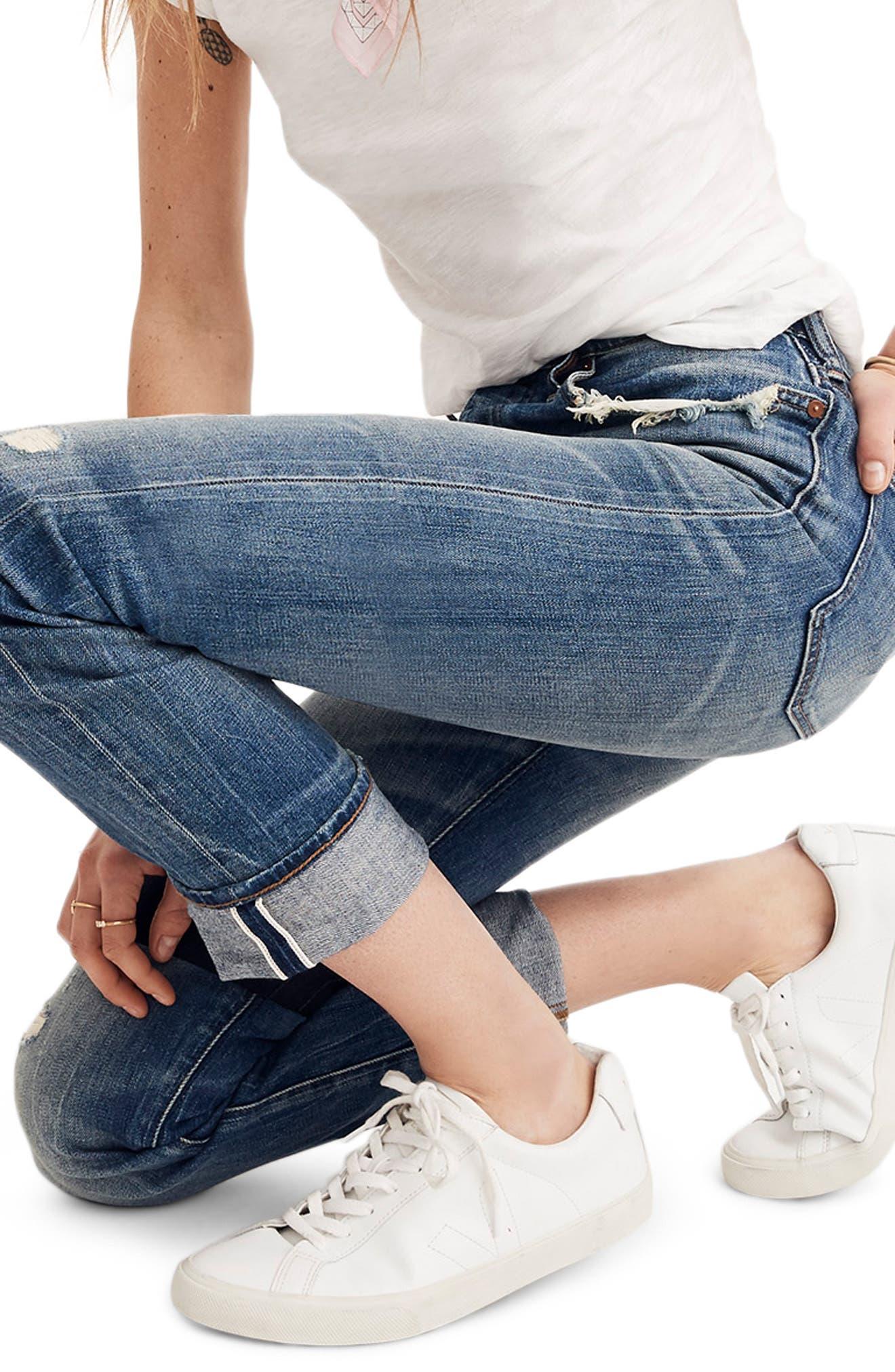 MADEWELL, Selvedge Distressed Straight Leg Jeans, Alternate thumbnail 4, color, CLOVERDALE