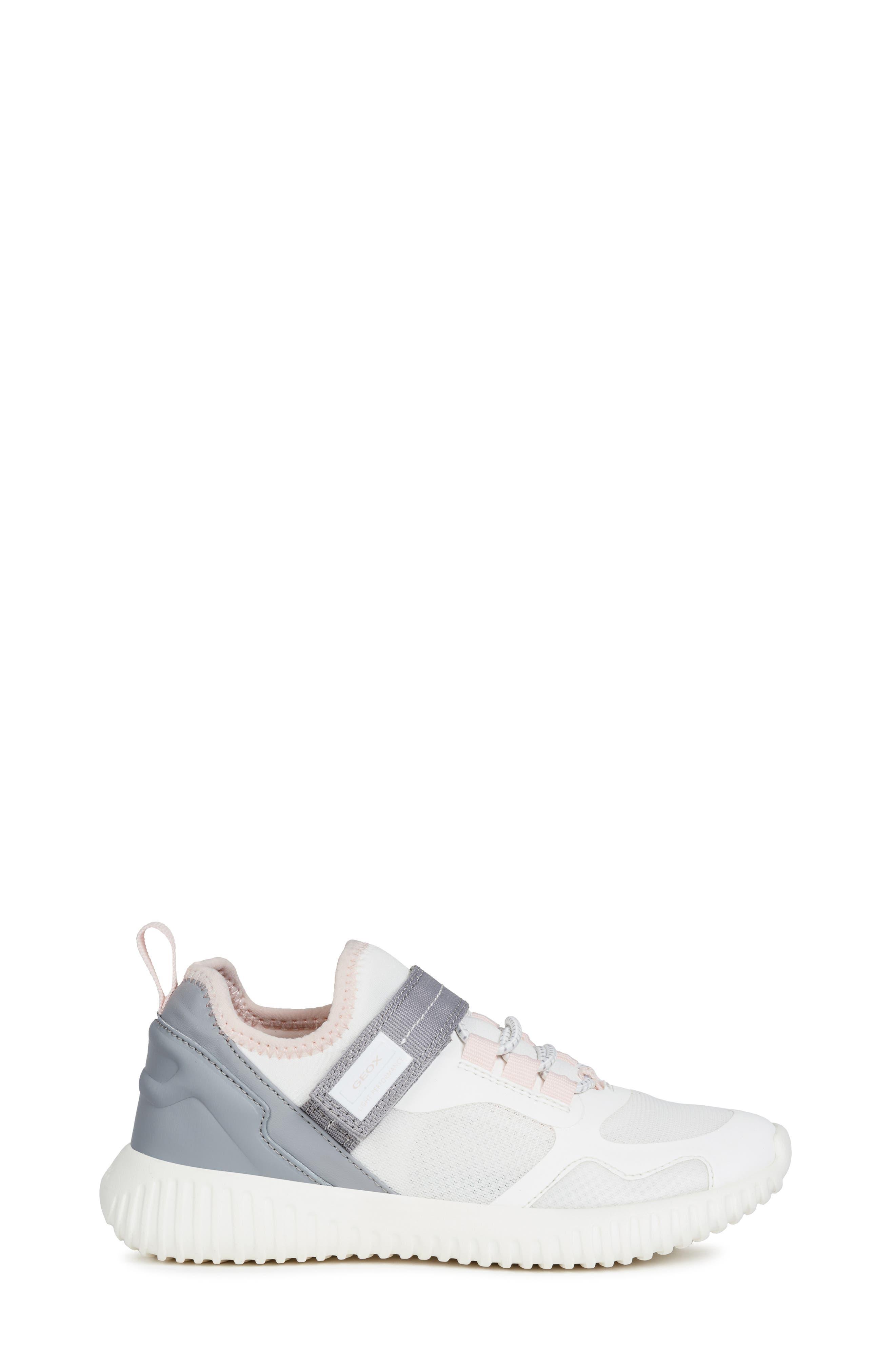GEOX, Waviness Sneaker, Alternate thumbnail 3, color, WHITE/ GREY