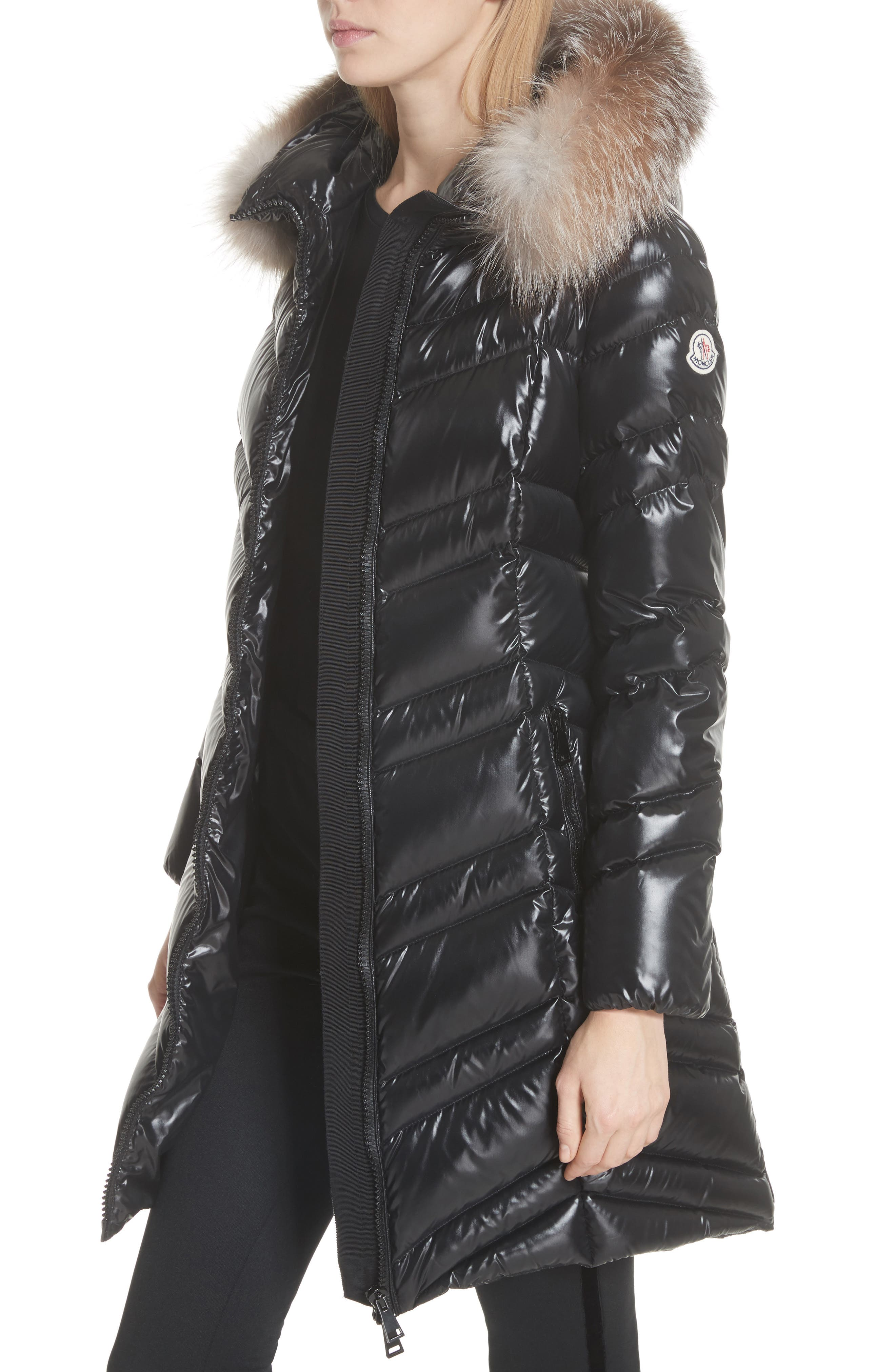 MONCLER, Fulmar Hooded Down Puffer Coat with Removable Genuine Fox Fur Trim, Alternate thumbnail 5, color, BLACK