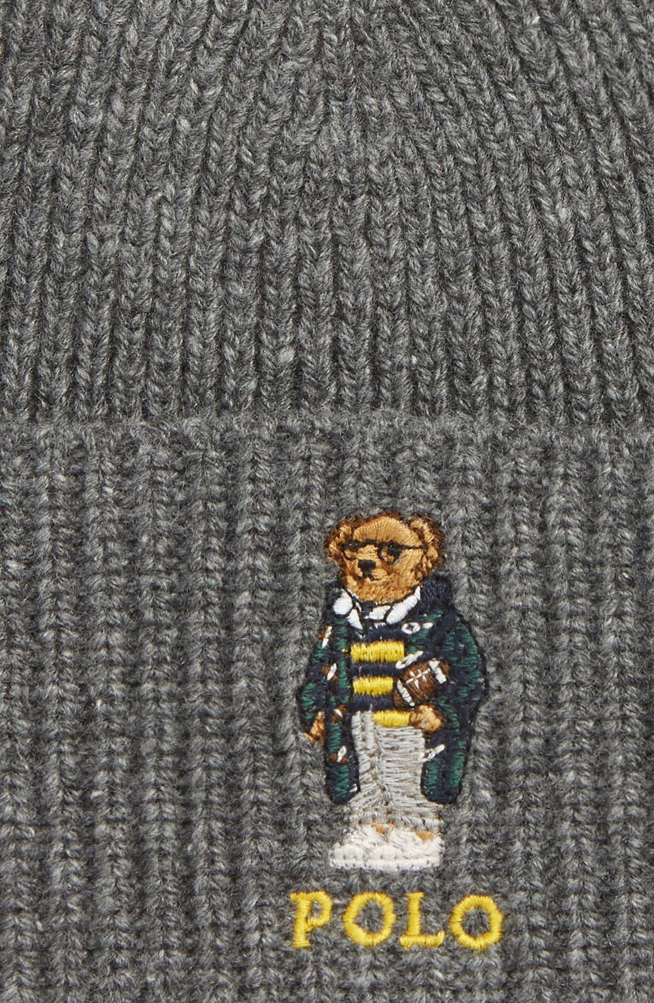 POLO RALPH LAUREN, Polo U Bear Beanie, Alternate thumbnail 2, color, 037