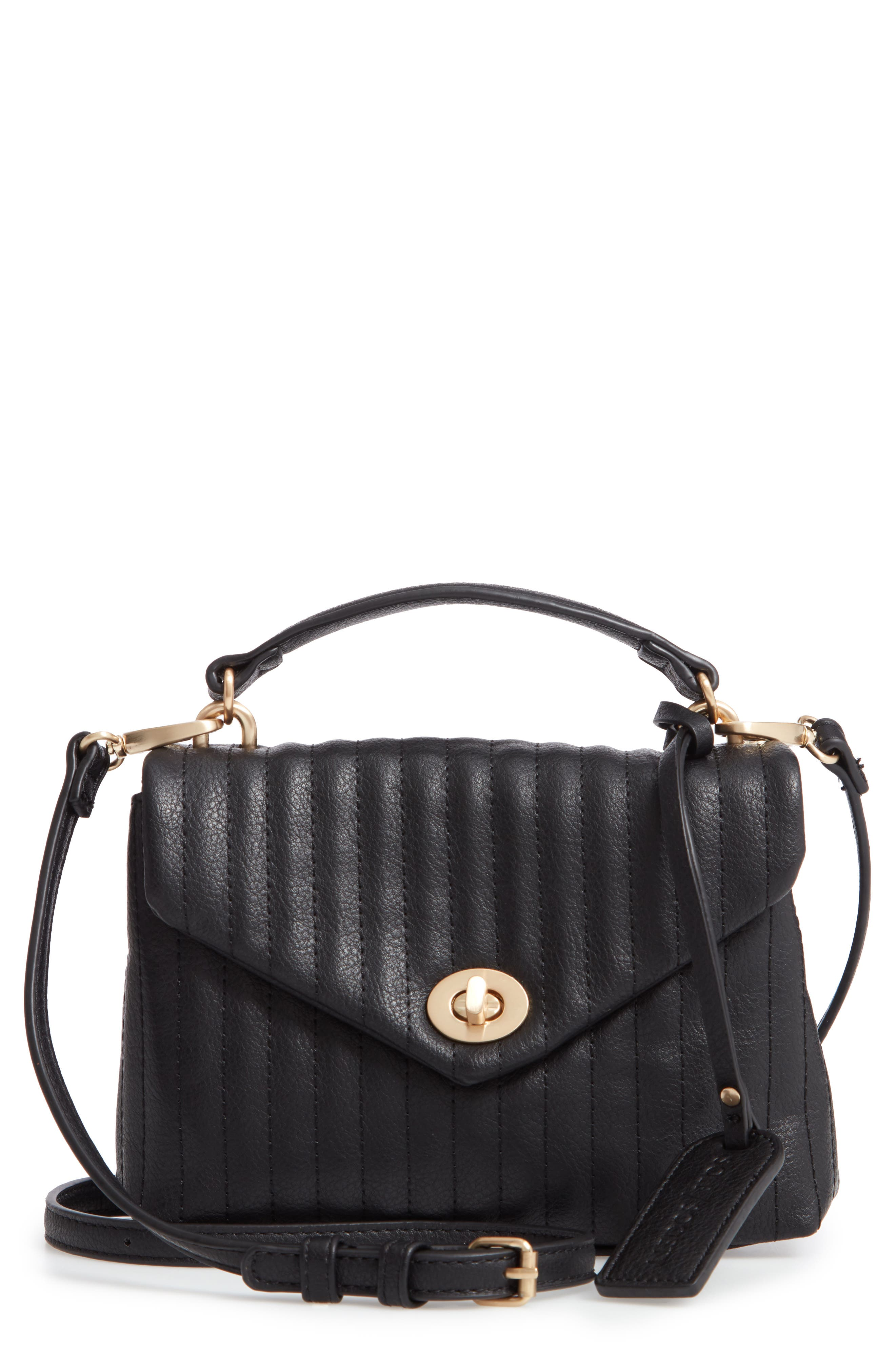 SOLE SOCIETY, Urche Faux Leather Crossbody Bag, Main thumbnail 1, color, BLACK