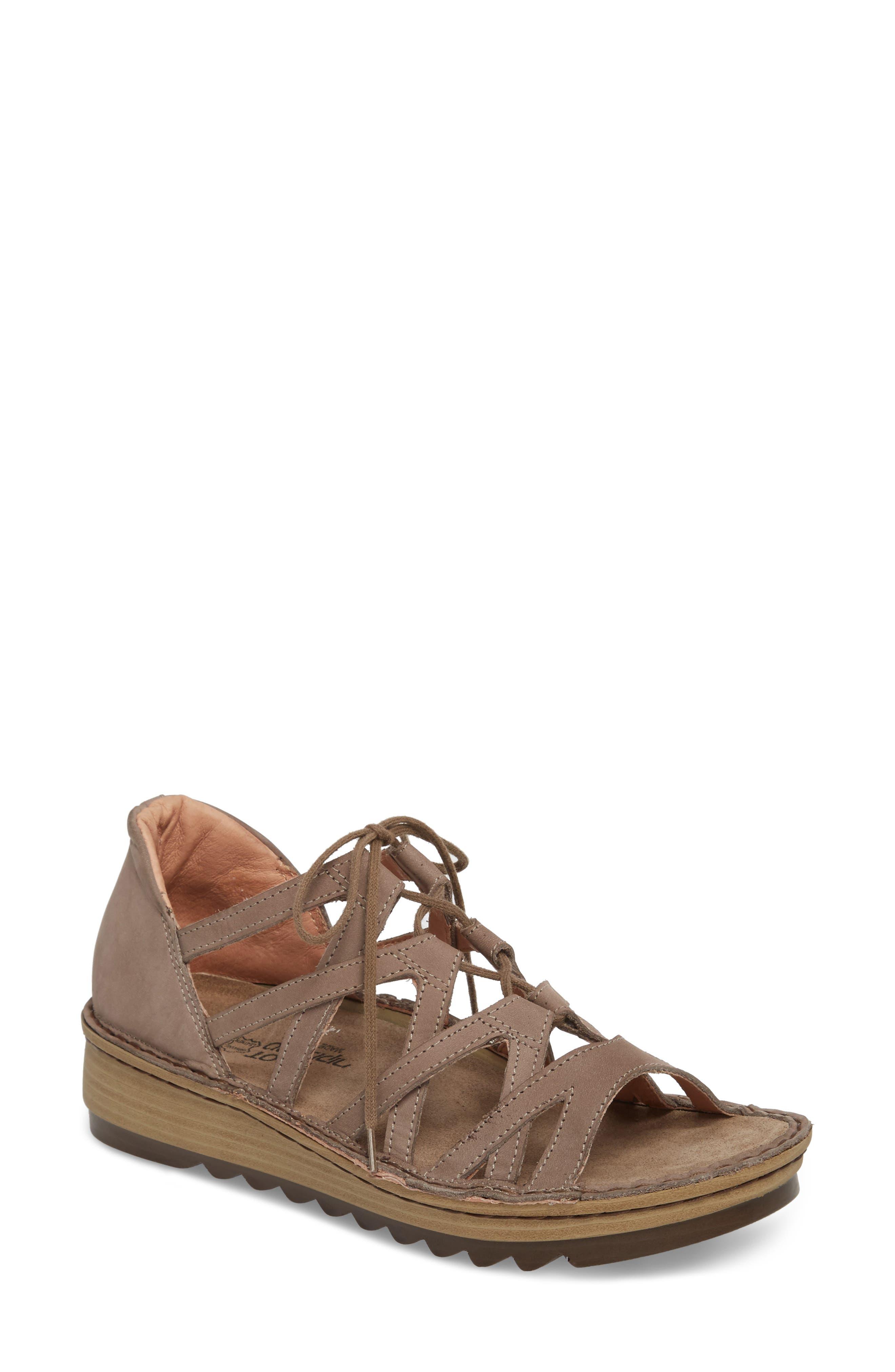 NAOT Yarrow Sandal, Main, color, STONE NUBUCK