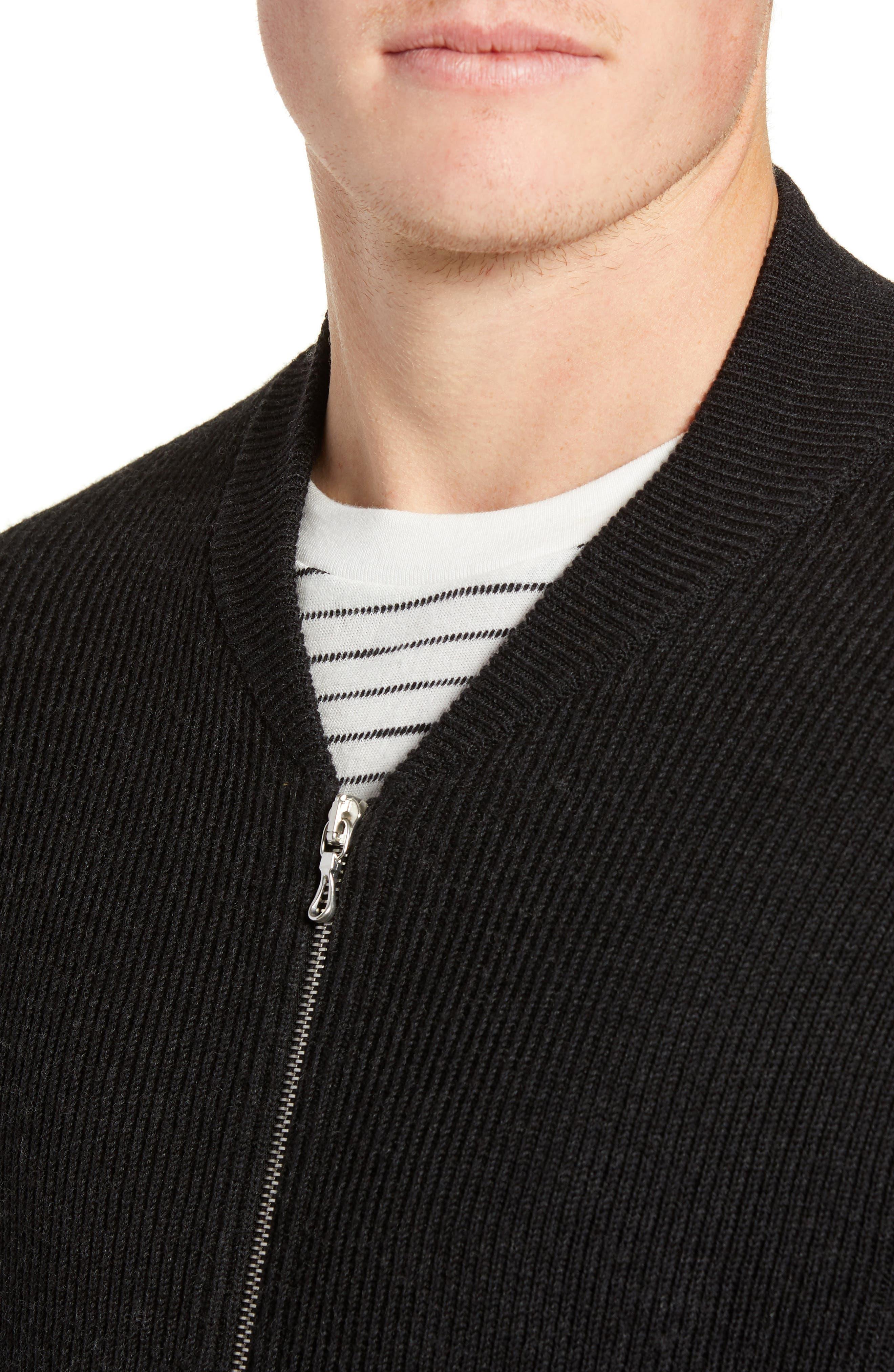 RAG & BONE, Andrew Zip Front Merino Wool Sweater, Alternate thumbnail 4, color, BLACK HEATHER