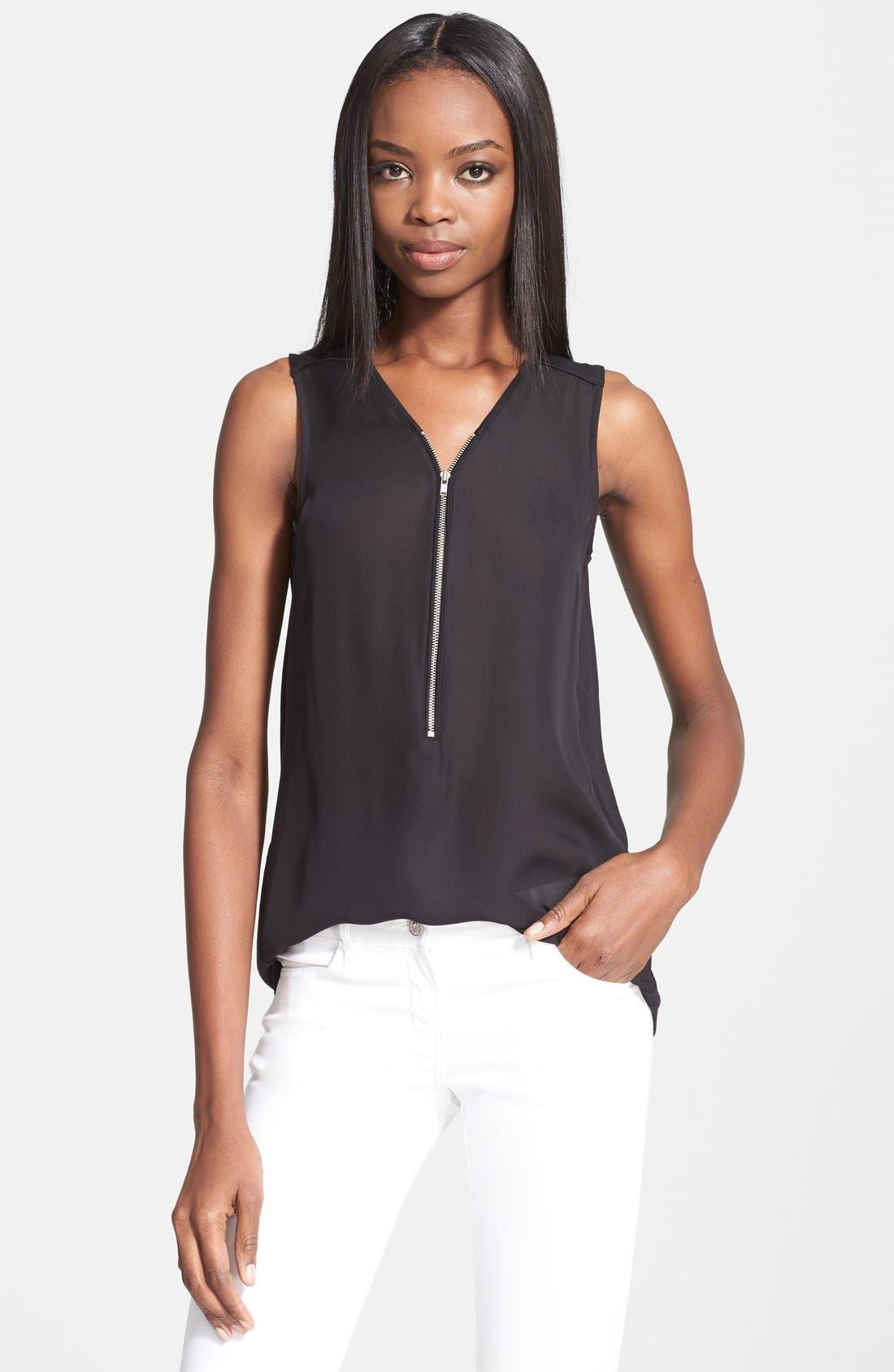 THE KOOPLES SPORT, Asymmetrical Zip Silk Shirt, Main thumbnail 1, color, 001