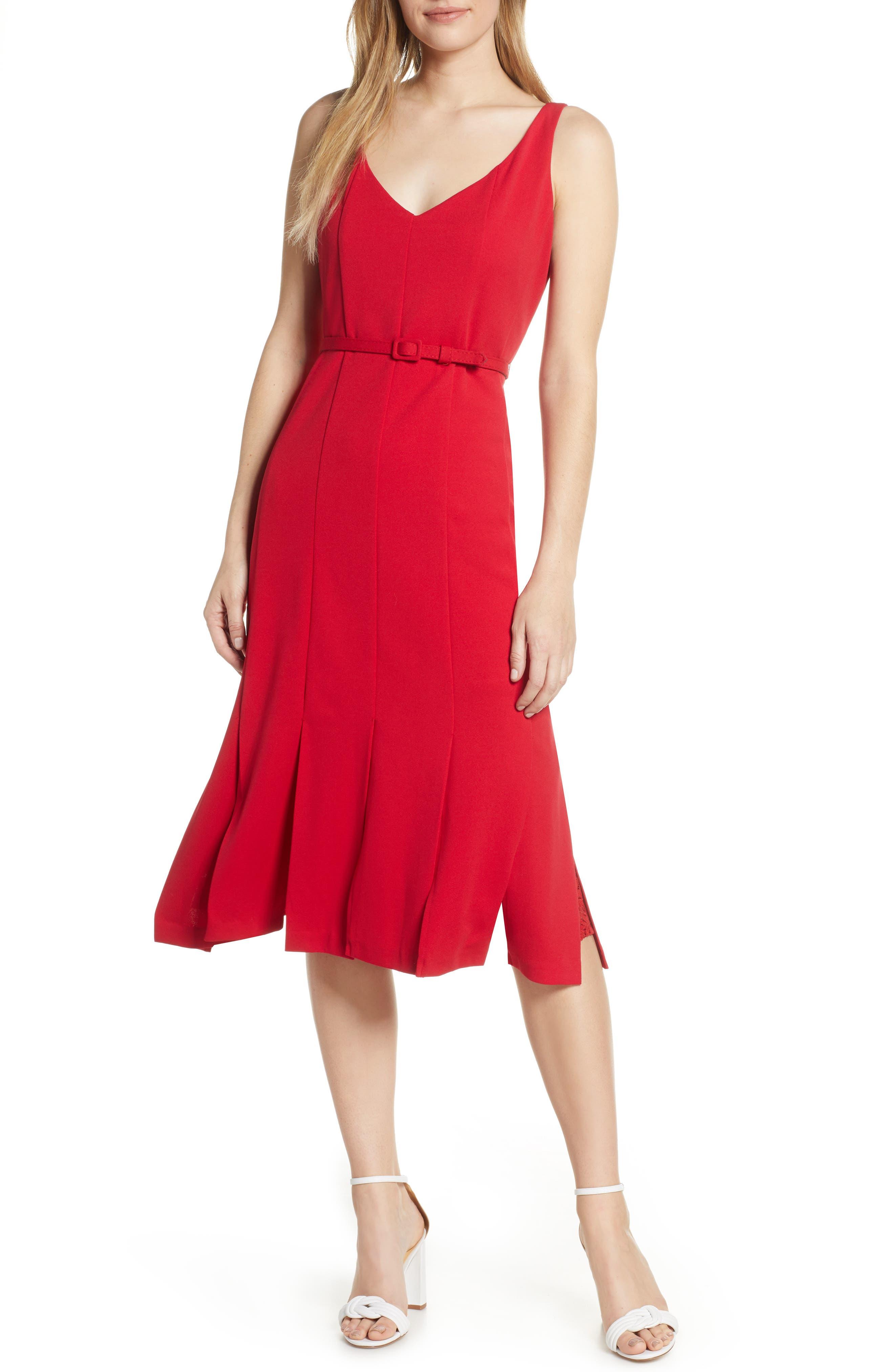 JULIA JORDAN, Belted Midi Dress, Main thumbnail 1, color, RED