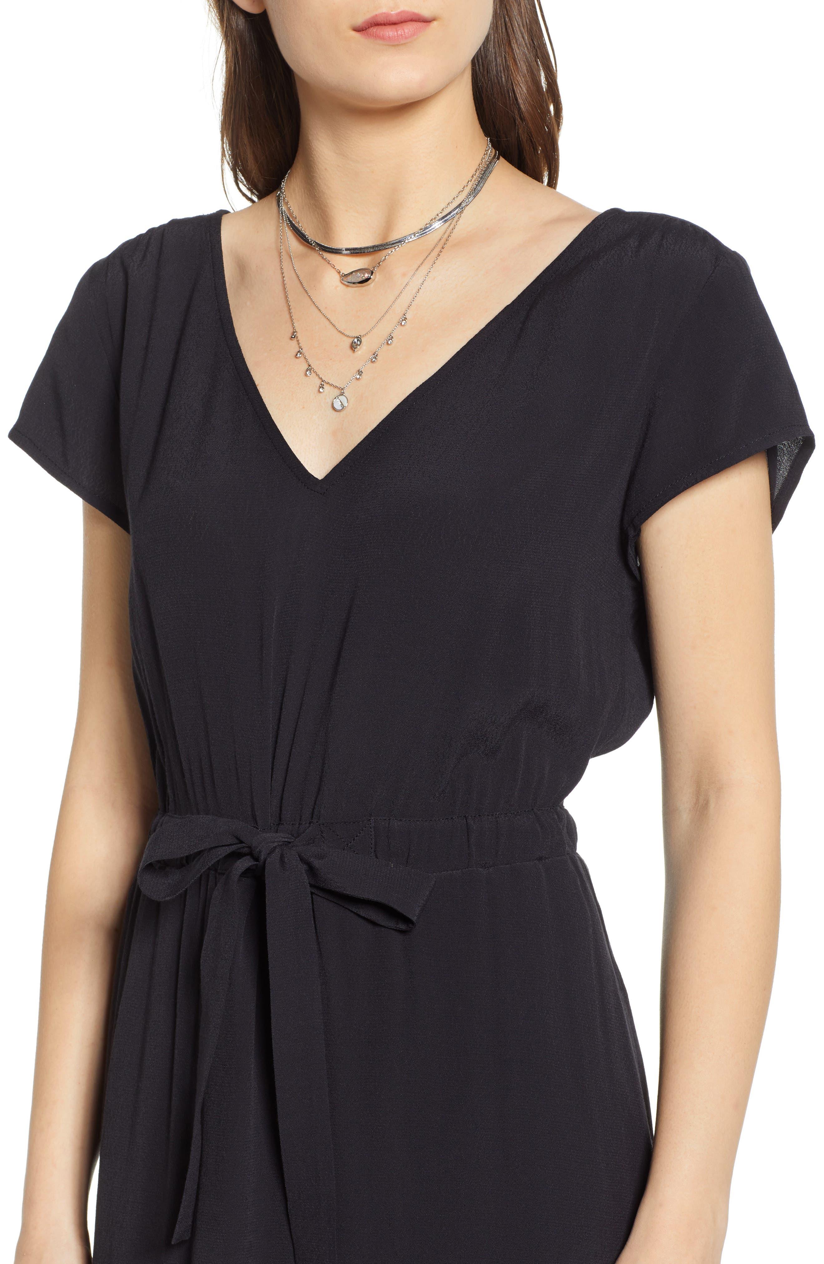 TREASURE & BOND, Cap Sleeve Midi Dress, Alternate thumbnail 5, color, BLACK
