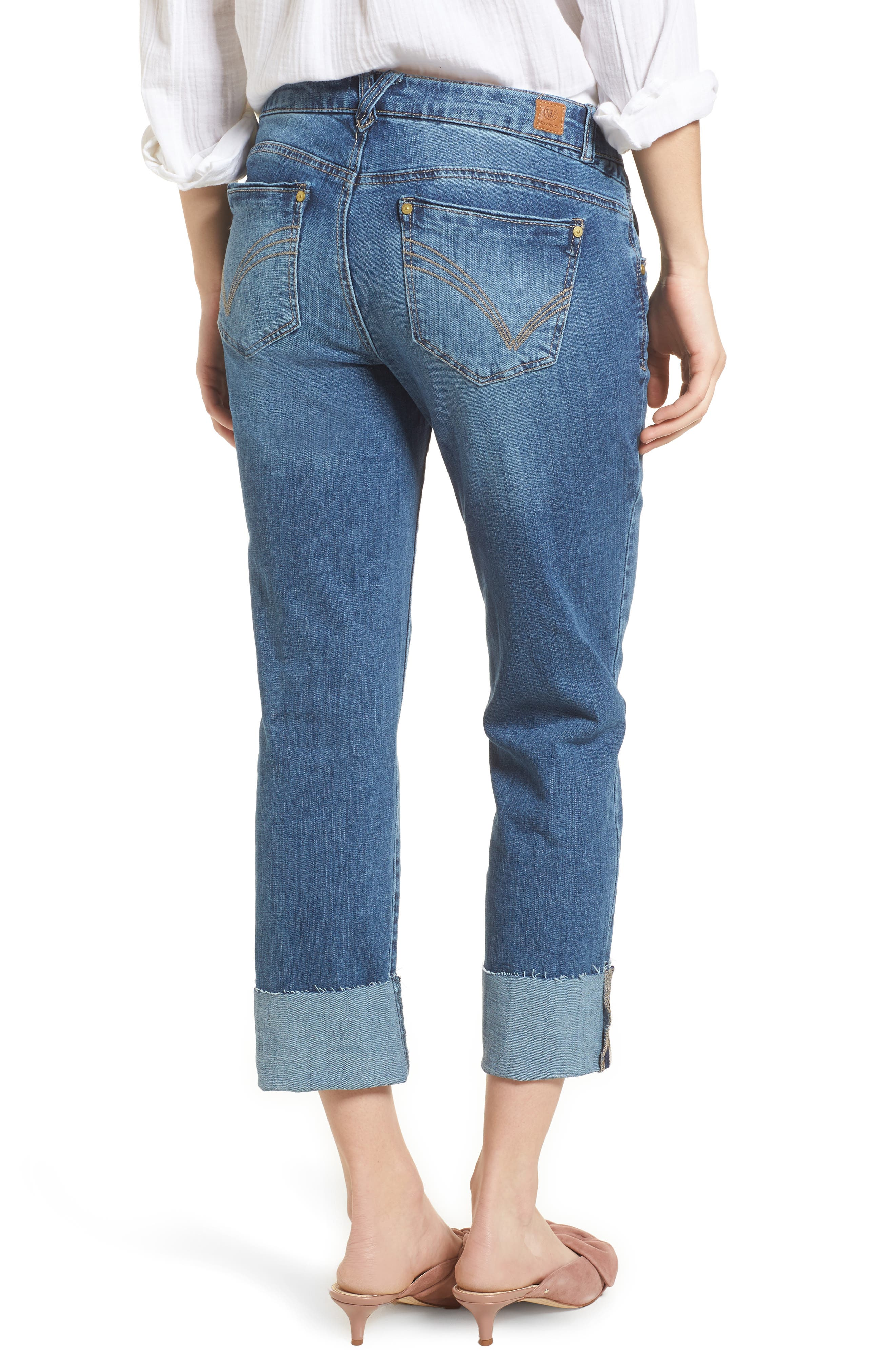 WIT & WISDOM, Flex-ellent Cuffed Boyfriend Jeans, Alternate thumbnail 2, color, BLUE