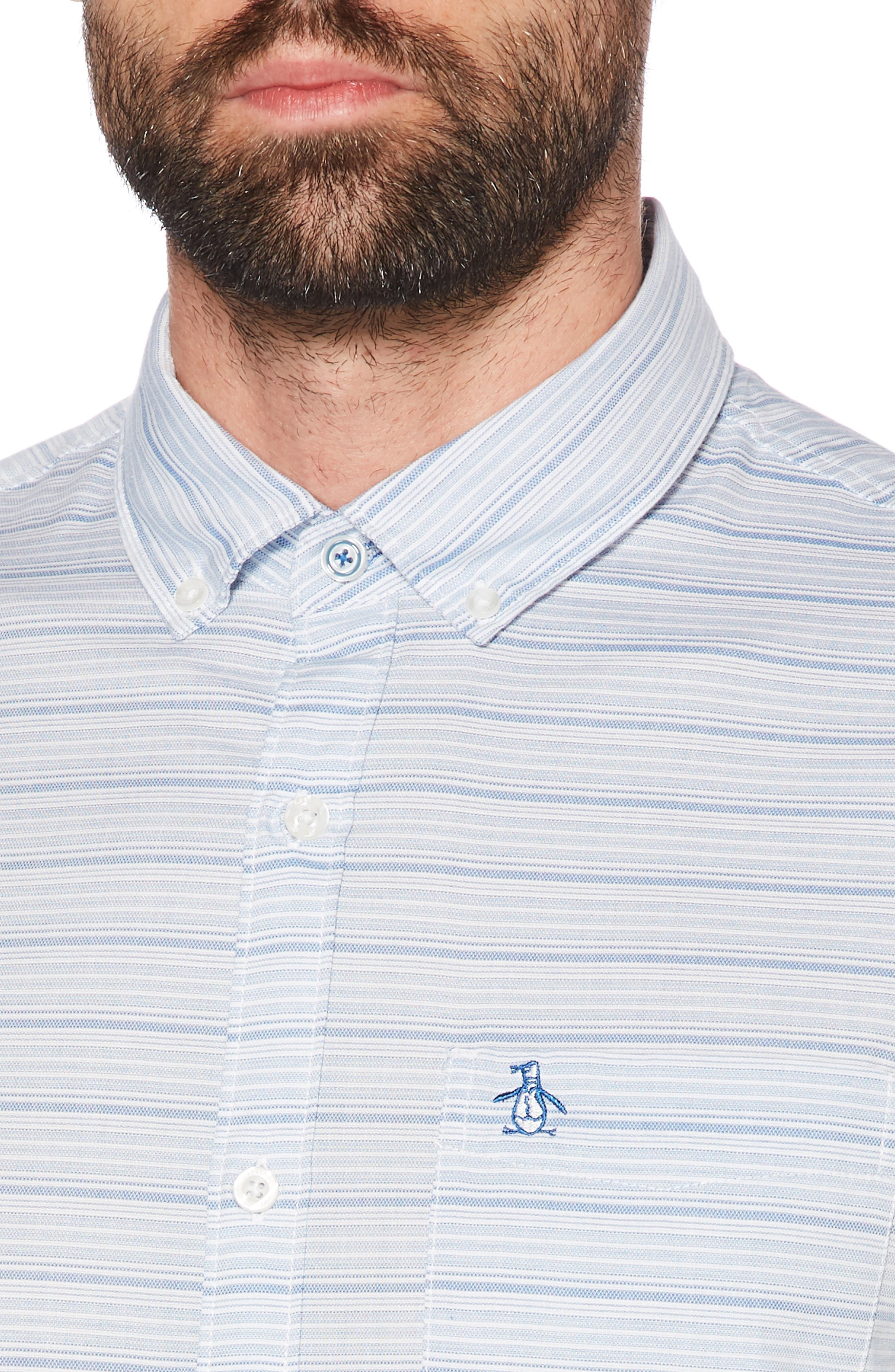 ORIGINAL PENGUIN, Slim Fit Dobby Sport Shirt, Alternate thumbnail 2, color, BRIGHT WHITE