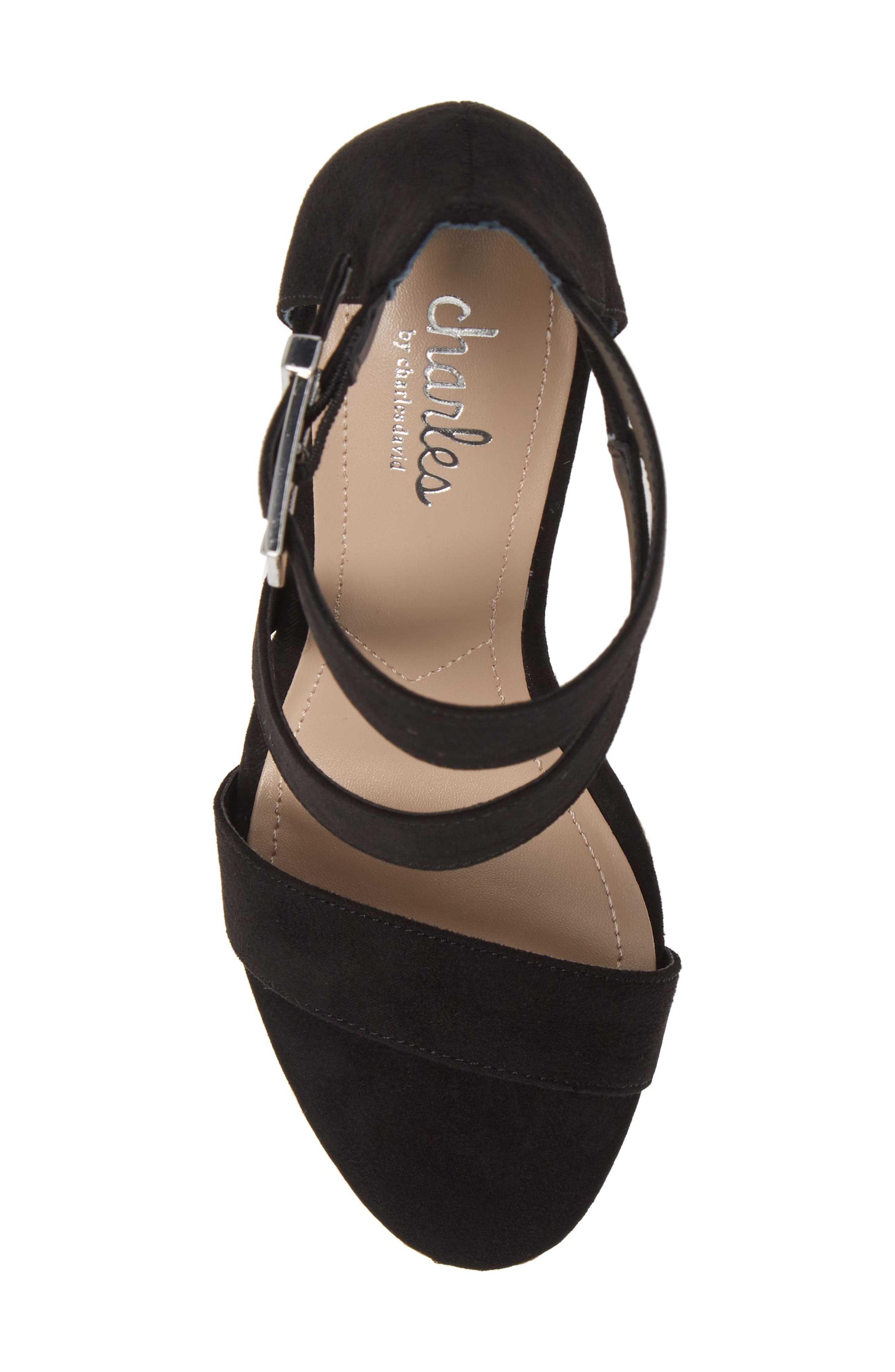 CHARLES BY CHARLES DAVID, Adrielle Asymmetrical Platform Wedge Sandal, Alternate thumbnail 5, color, BLACK FABRIC