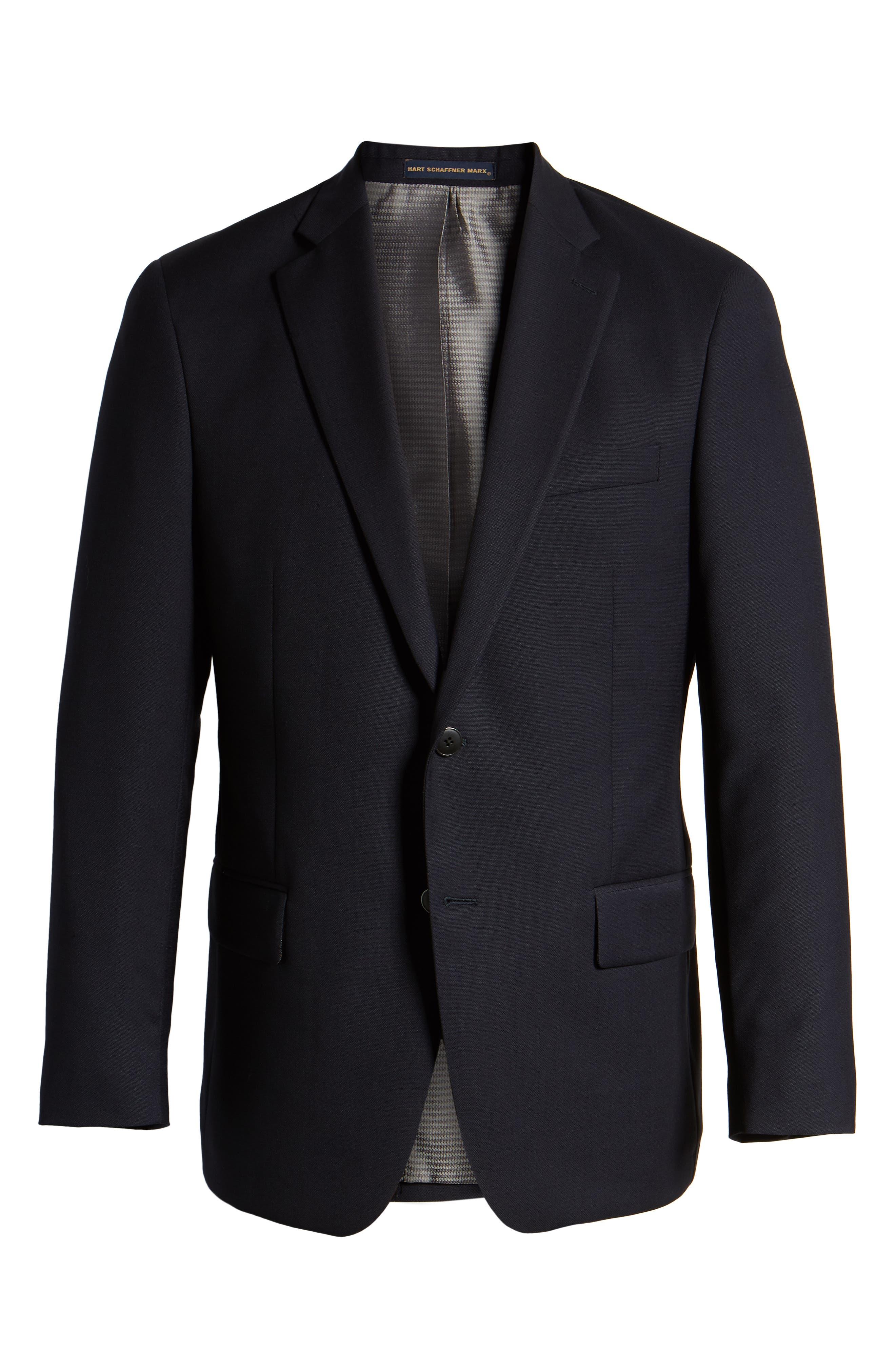 HART SCHAFFNER MARX, New York Classic Fit Wool Blend Blazer, Alternate thumbnail 6, color, NAVY