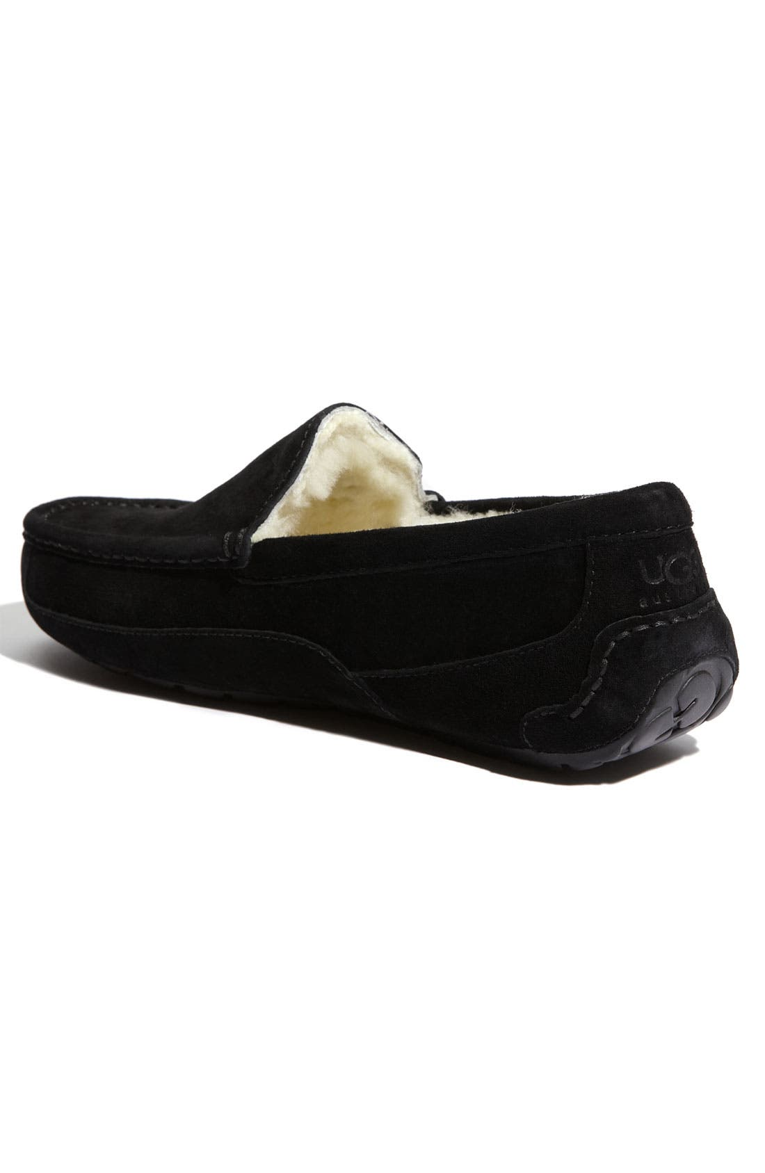 UGG<SUP>®</SUP>, Ascot Suede Slipper, Alternate thumbnail 5, color, BLACK SUEDE