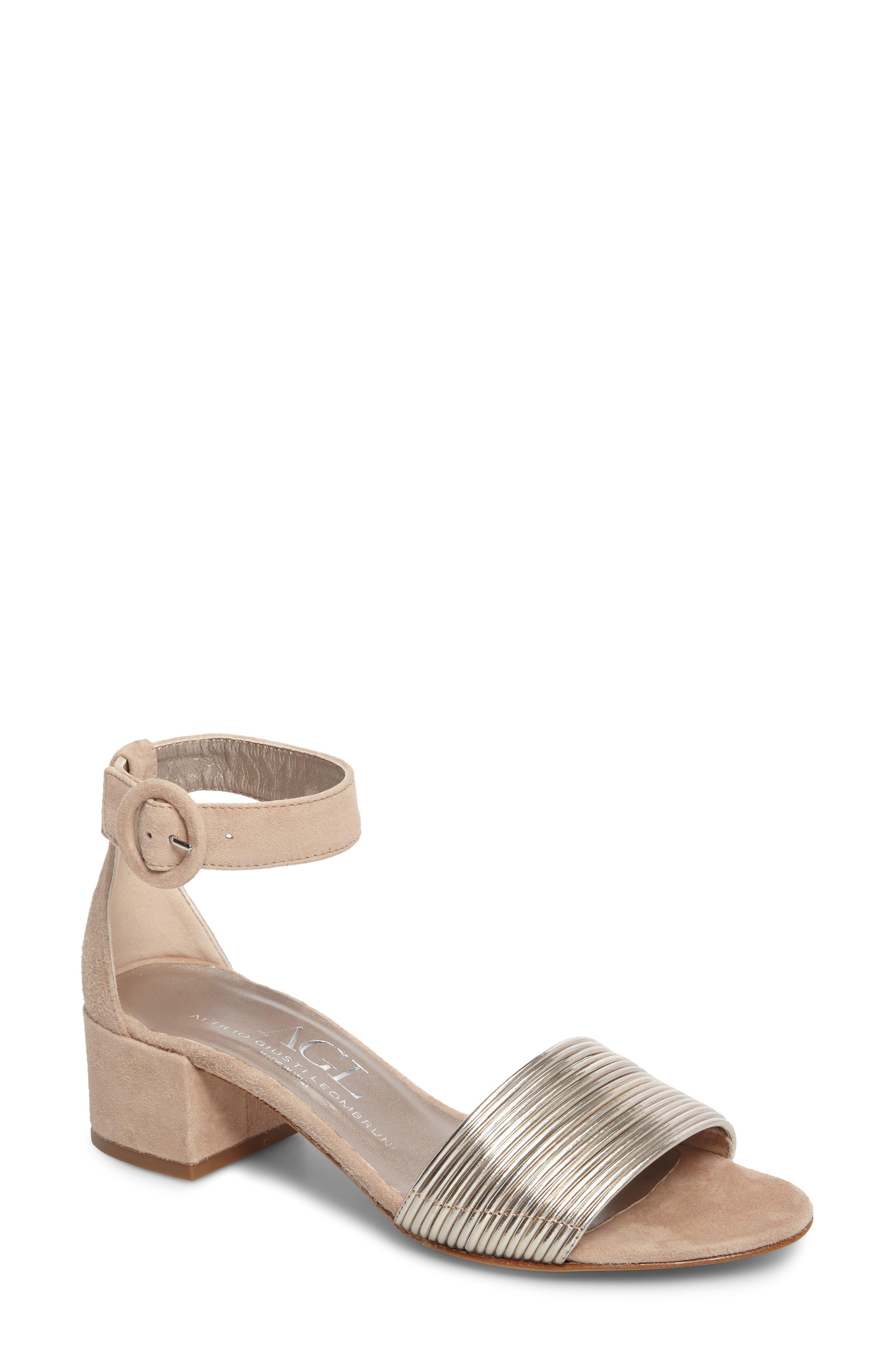 AGL, Ankle Strap Sandal, Main thumbnail 1, color, PLATINUM SUEDE
