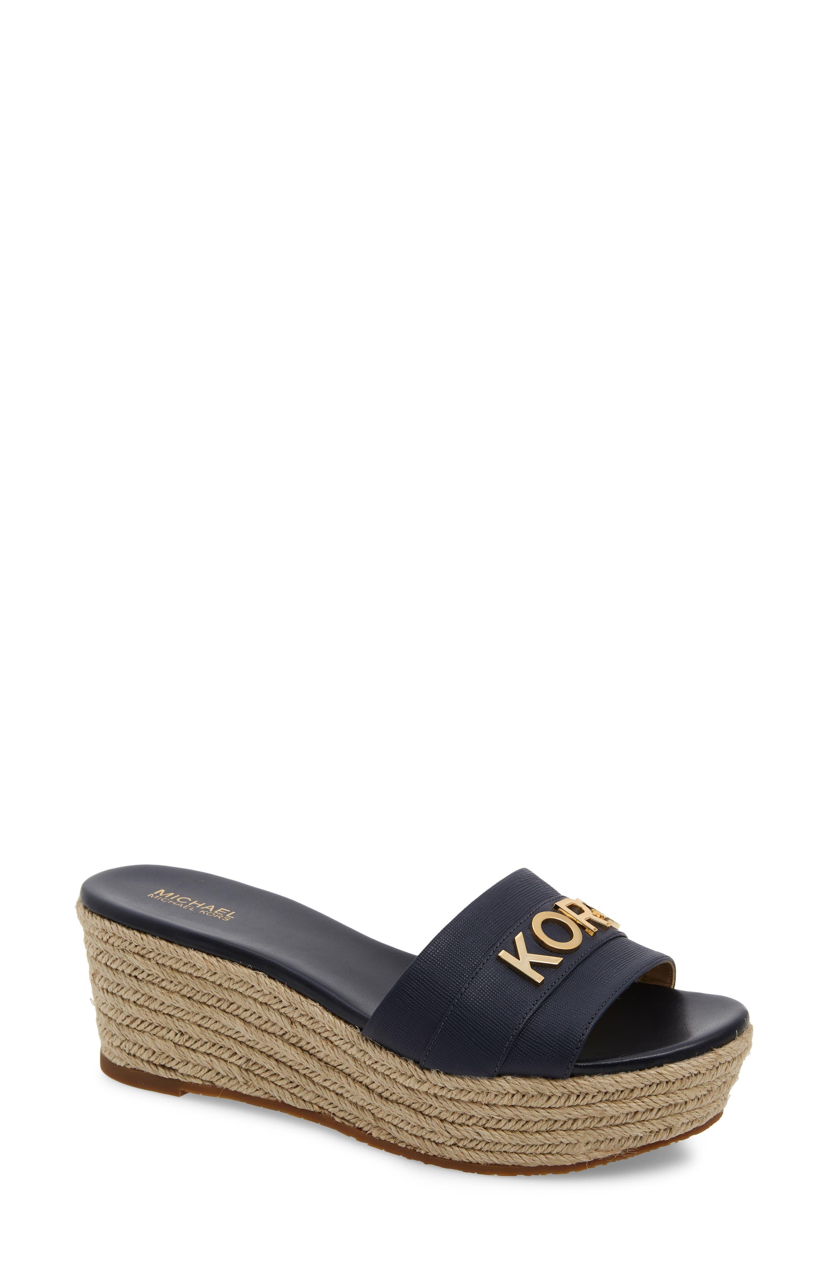 MICHAEL MICHAEL KORS Brady Platform Slide Sandal, Main, color, ADMIRAL SAFFIANO LEATHER