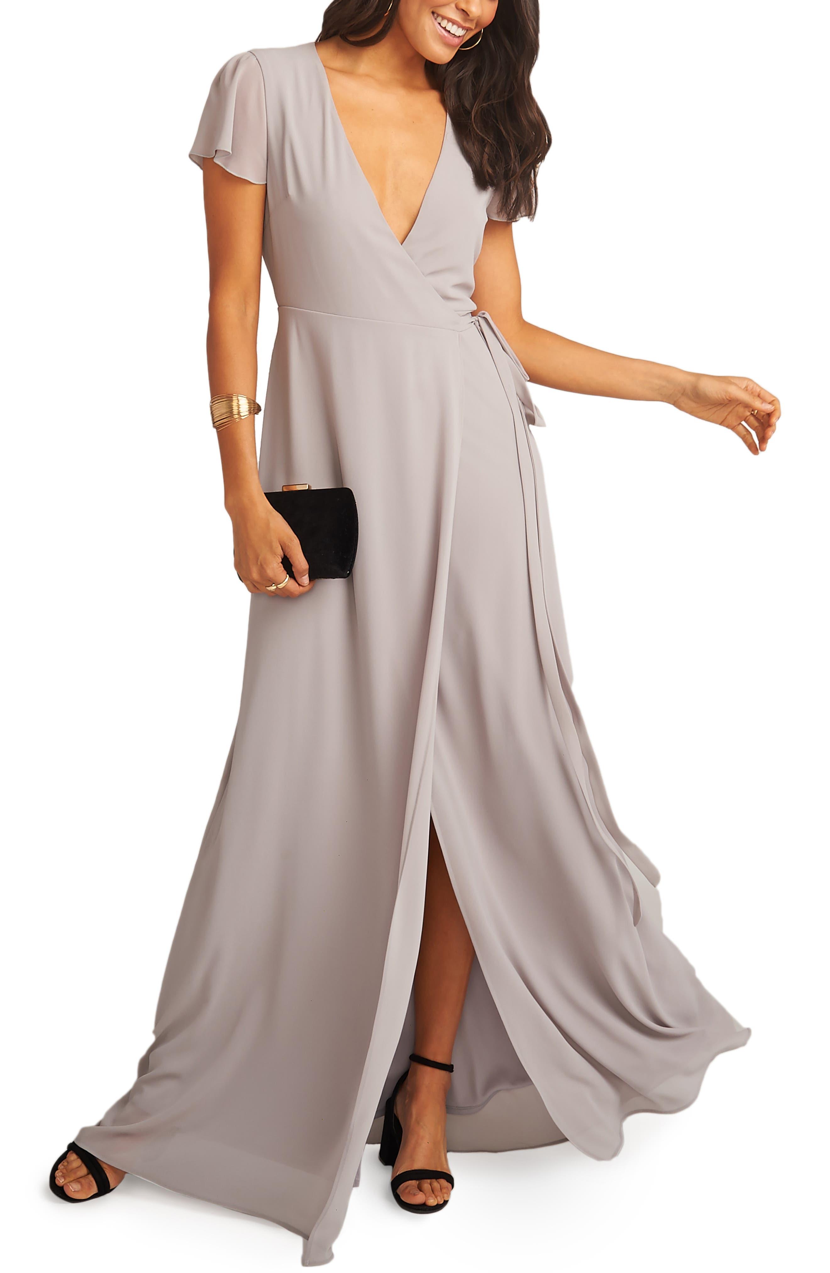 SHOW ME YOUR MUMU, Noelle Wrap Dress, Main thumbnail 1, color, DOVE GREY