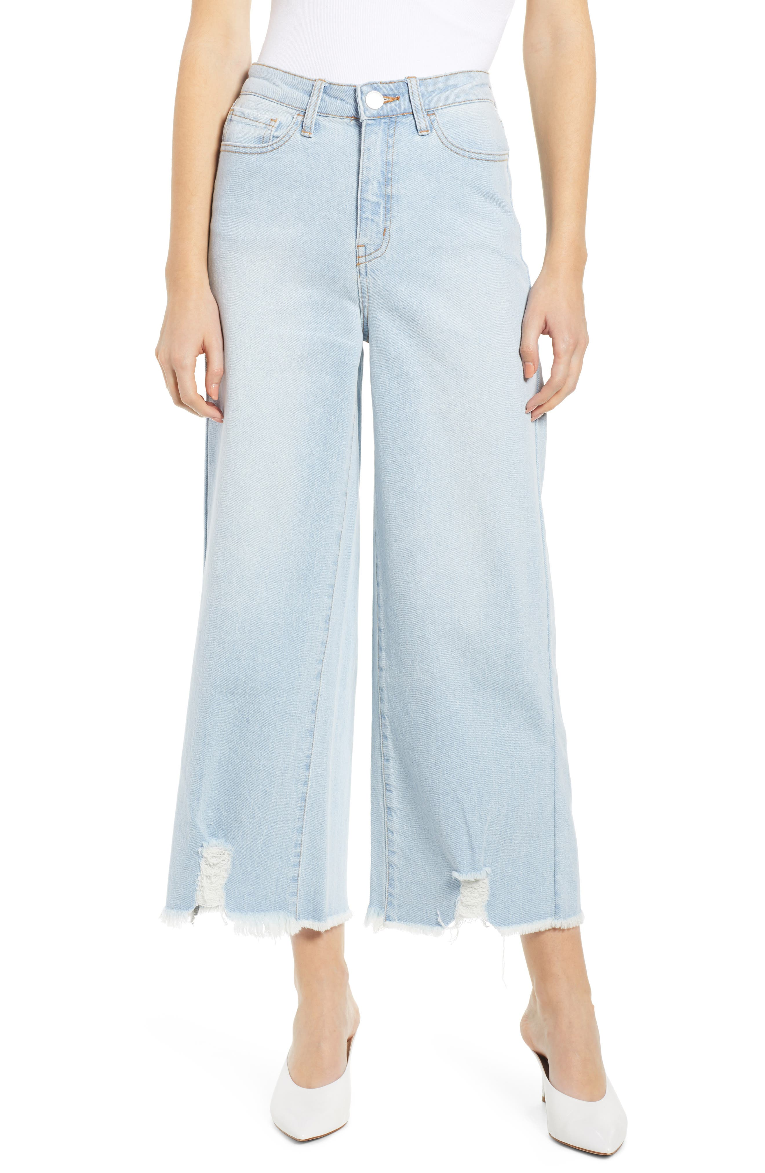 PROSPERITY DENIM, Fray Hem Wide Leg Crop Jeans, Main thumbnail 1, color, LIGHT WASH