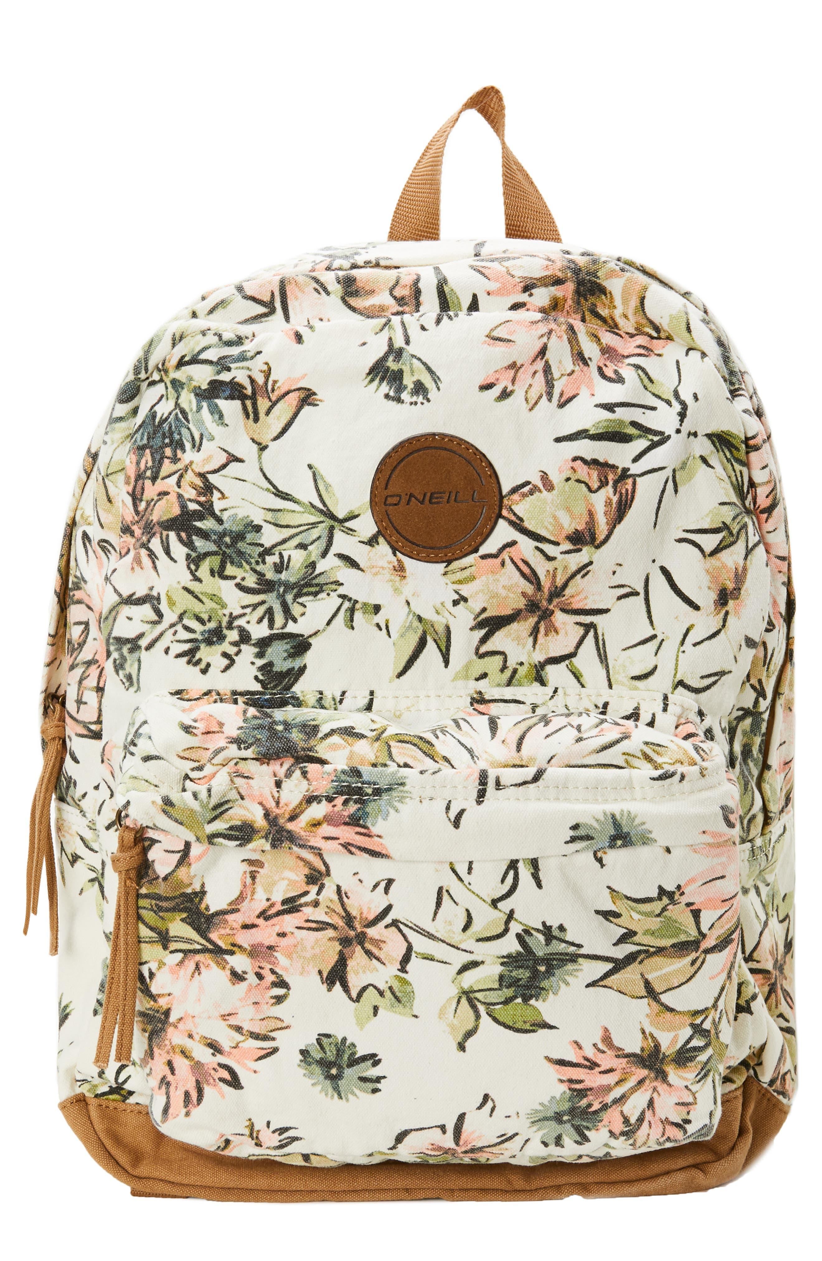 O'NEILL, Shoreline Floral Print Canvas Backpack, Main thumbnail 1, color, NAKED