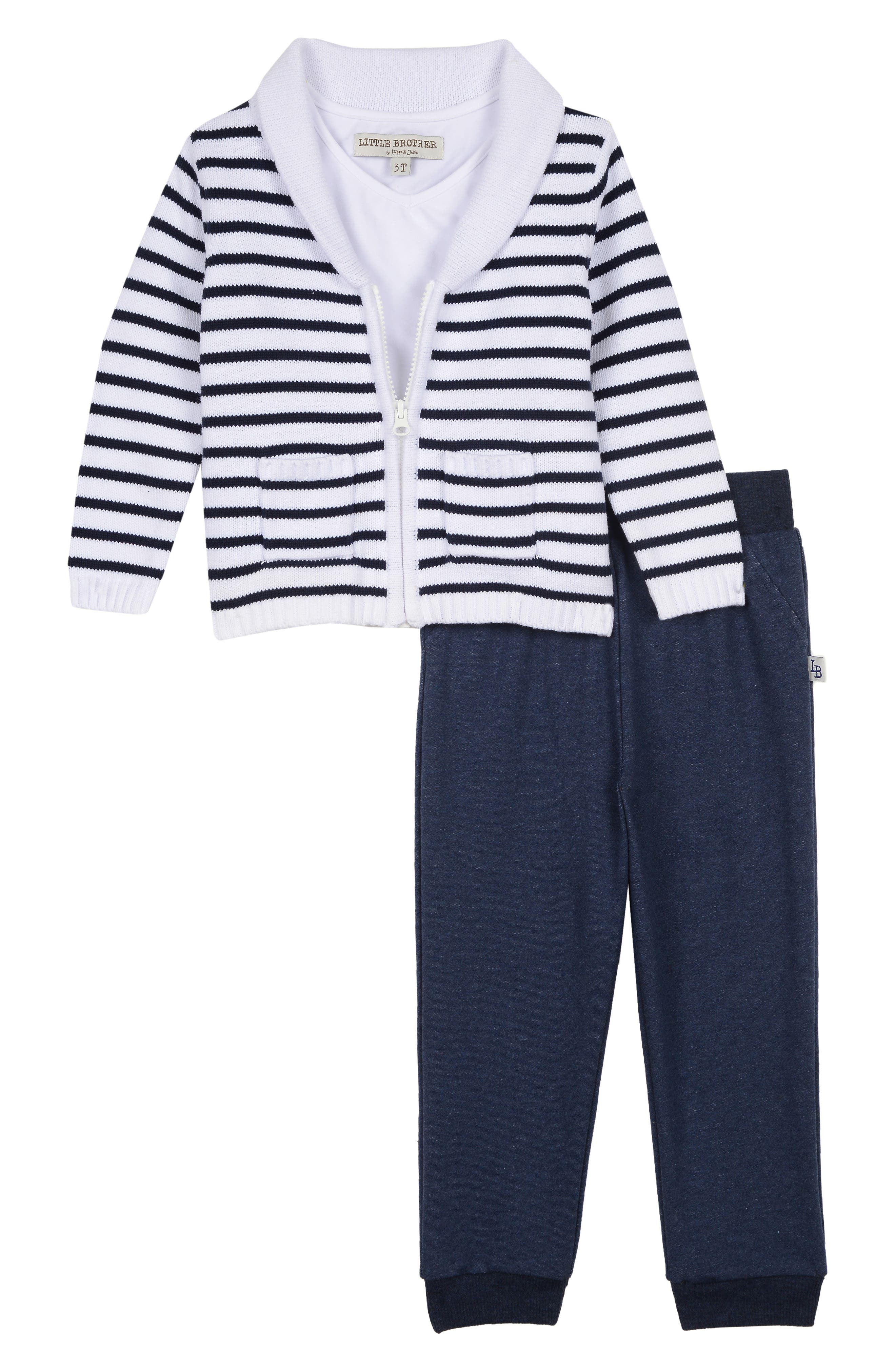 LITTLE BROTHER BY PIPPA & JULIE Sweater, T-Shirt & Pants Set, Main, color, NAVY/ WHITE