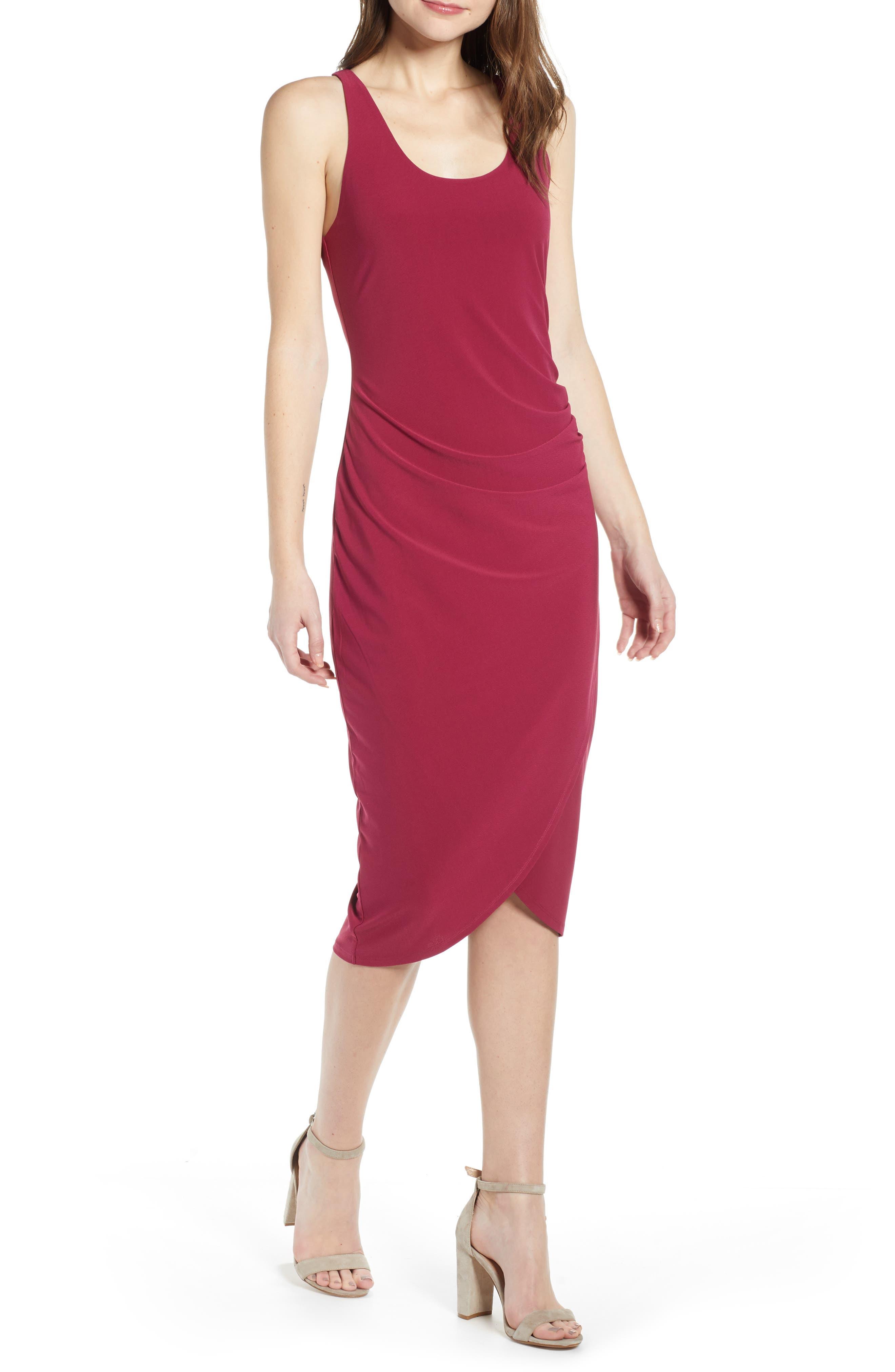 Chelsea28 Side Ruched Dress, Burgundy