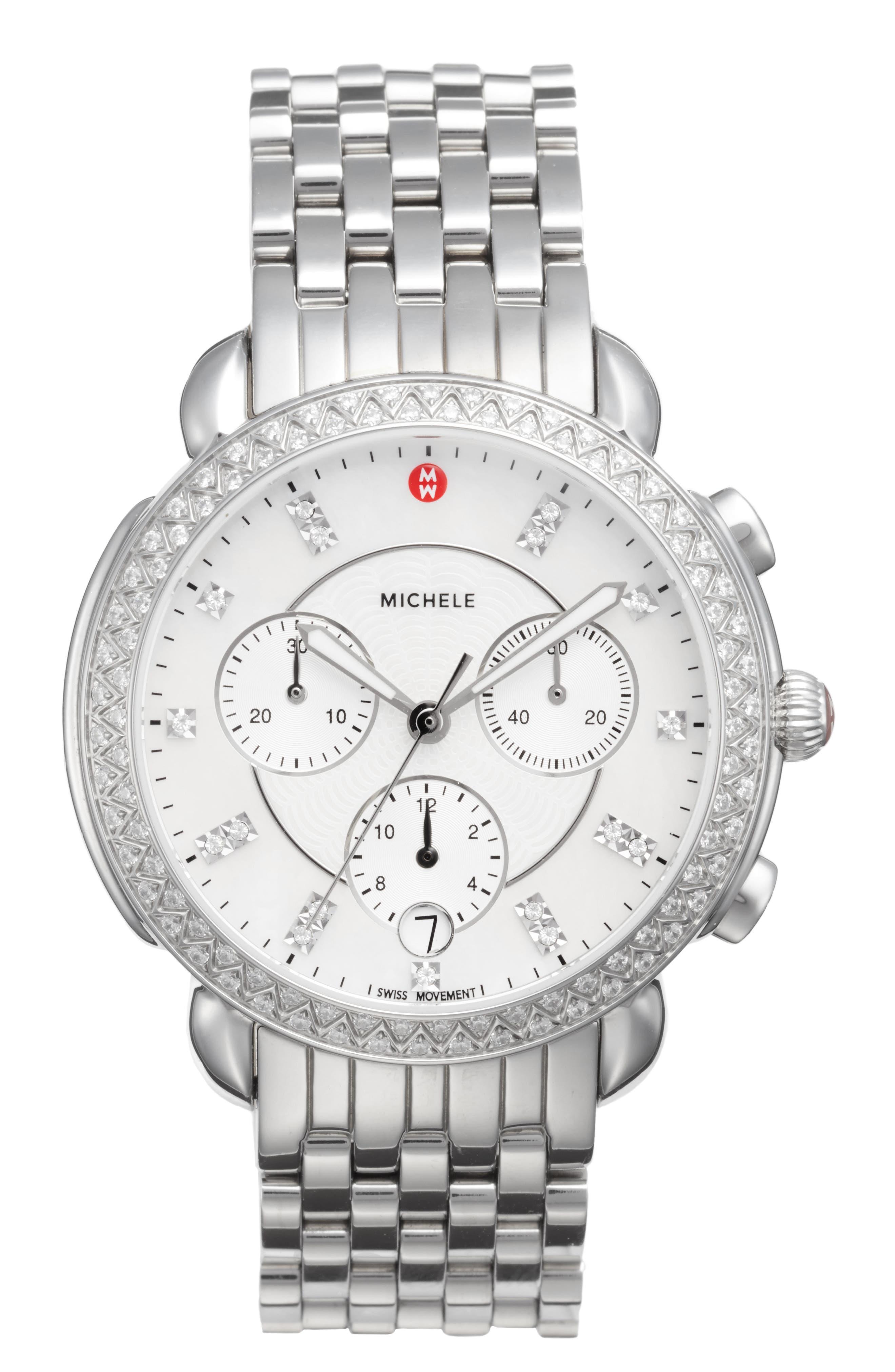MICHELE, Sidney Chrono Diamond Diamond Dial Watch Case, 38mm, Main thumbnail 1, color, SILVER/ MOP