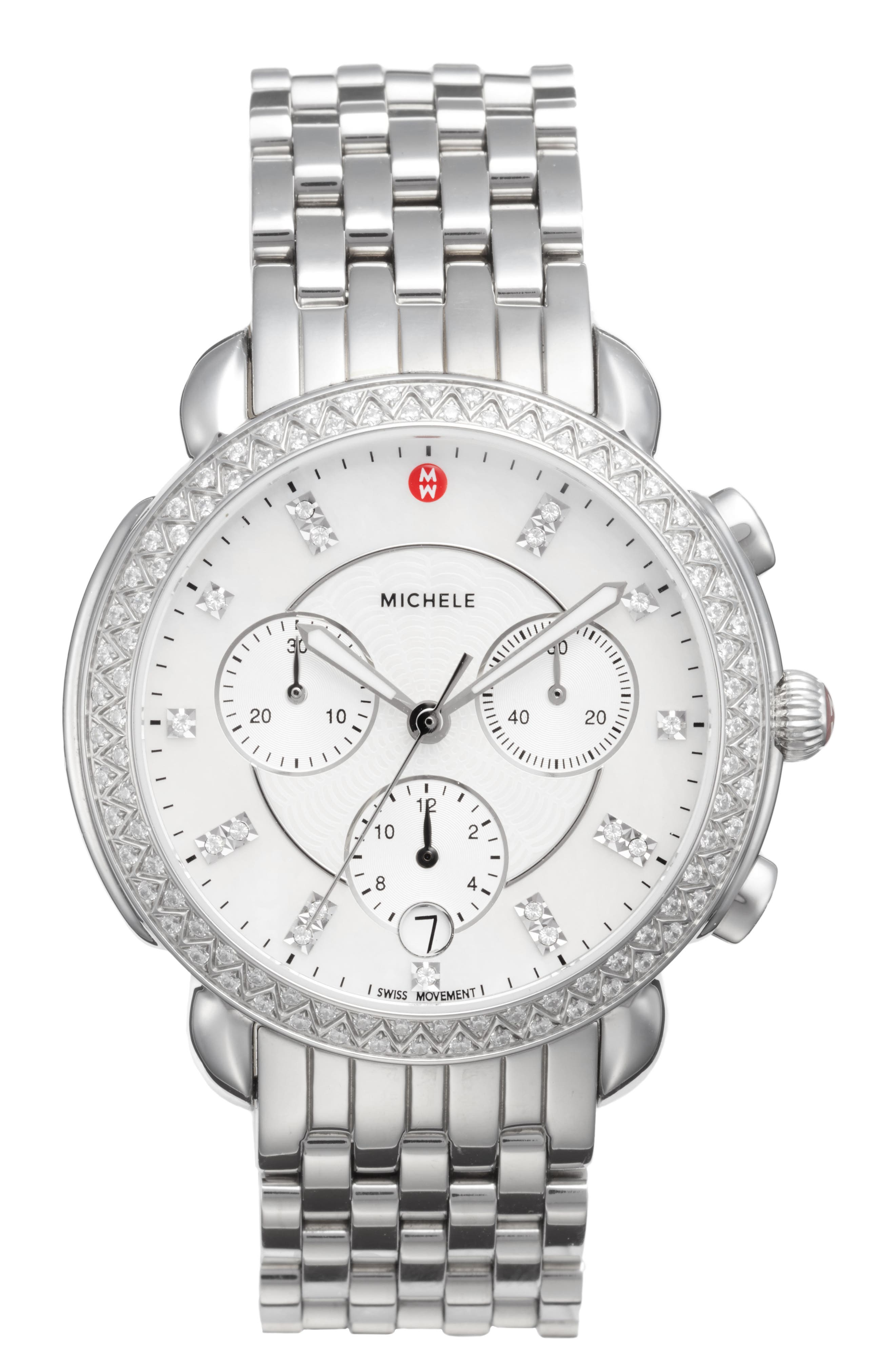 MICHELE Sidney Chrono Diamond Diamond Dial Watch Case, 38mm, Main, color, SILVER/ MOP