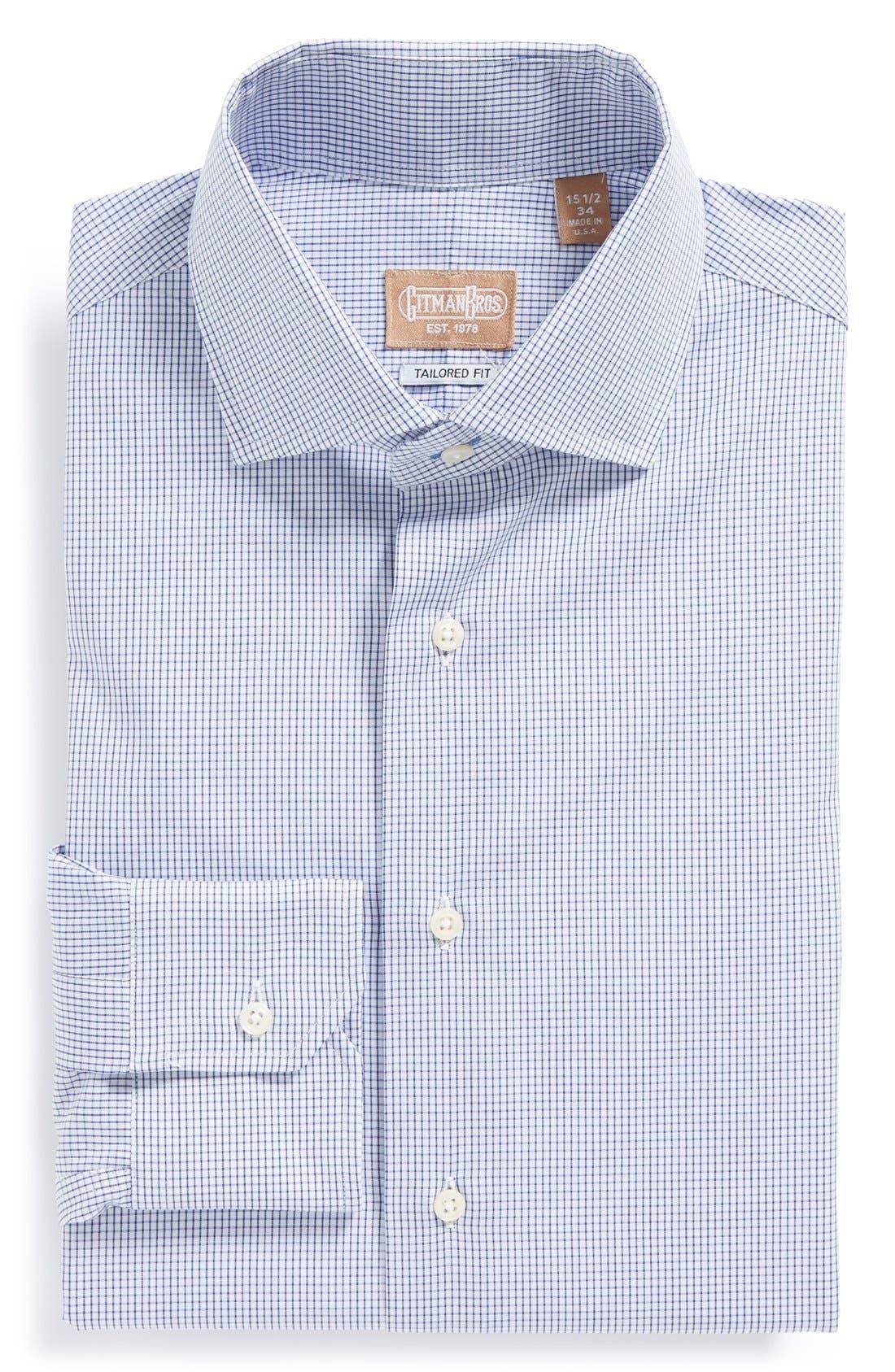 GITMAN, Tailored Fit Gingham Dress Shirt, Main thumbnail 1, color, NAVY