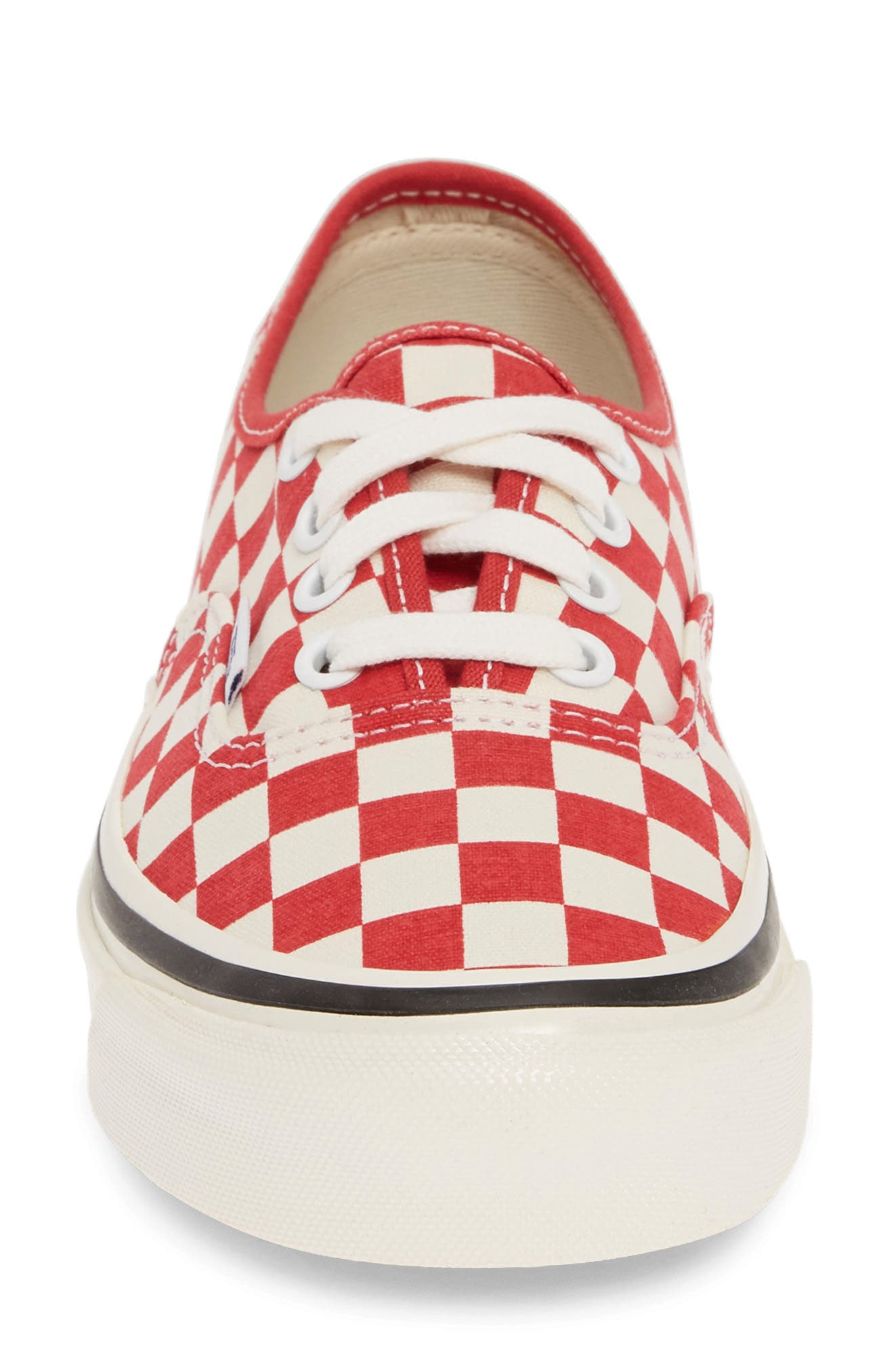 VANS, Authentic 44 DX Sneaker, Alternate thumbnail 4, color, RED/ CHECK