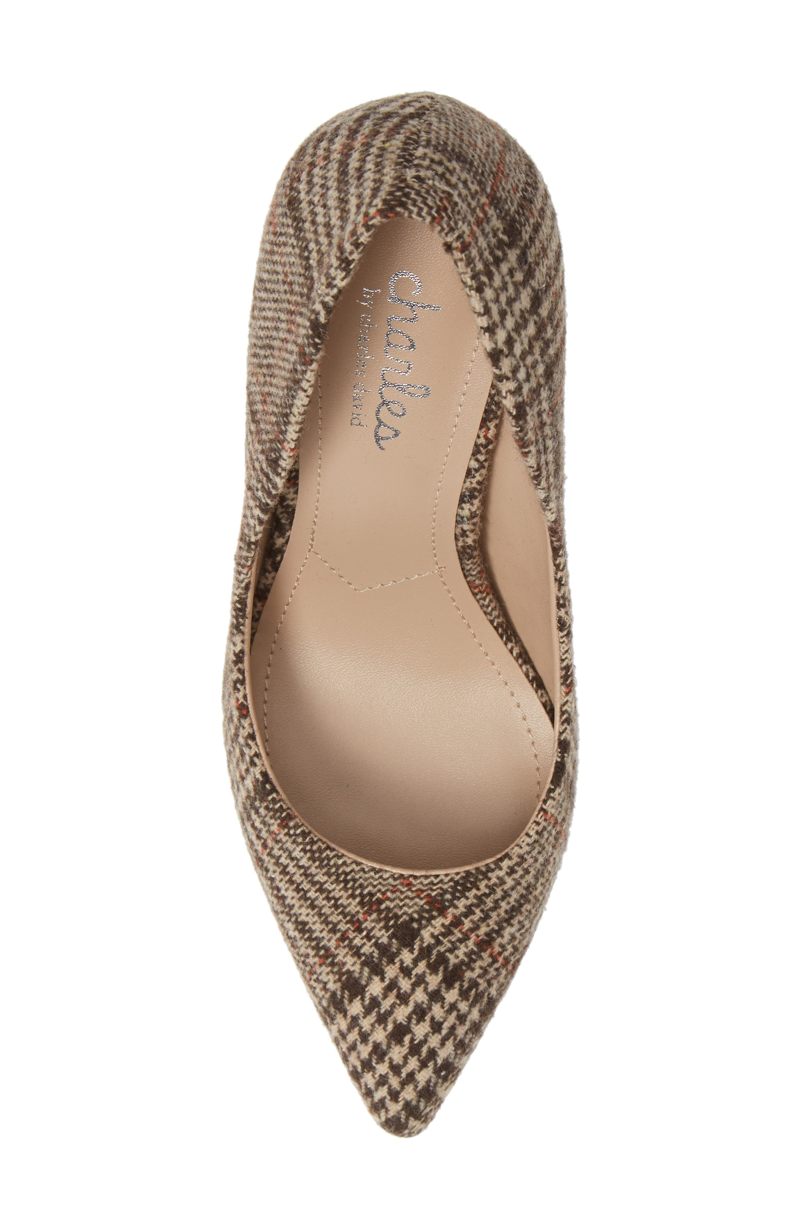 CHARLES BY CHARLES DAVID, Maxx Pointy Toe Pump, Alternate thumbnail 5, color, BROWN PLAID FABRIC