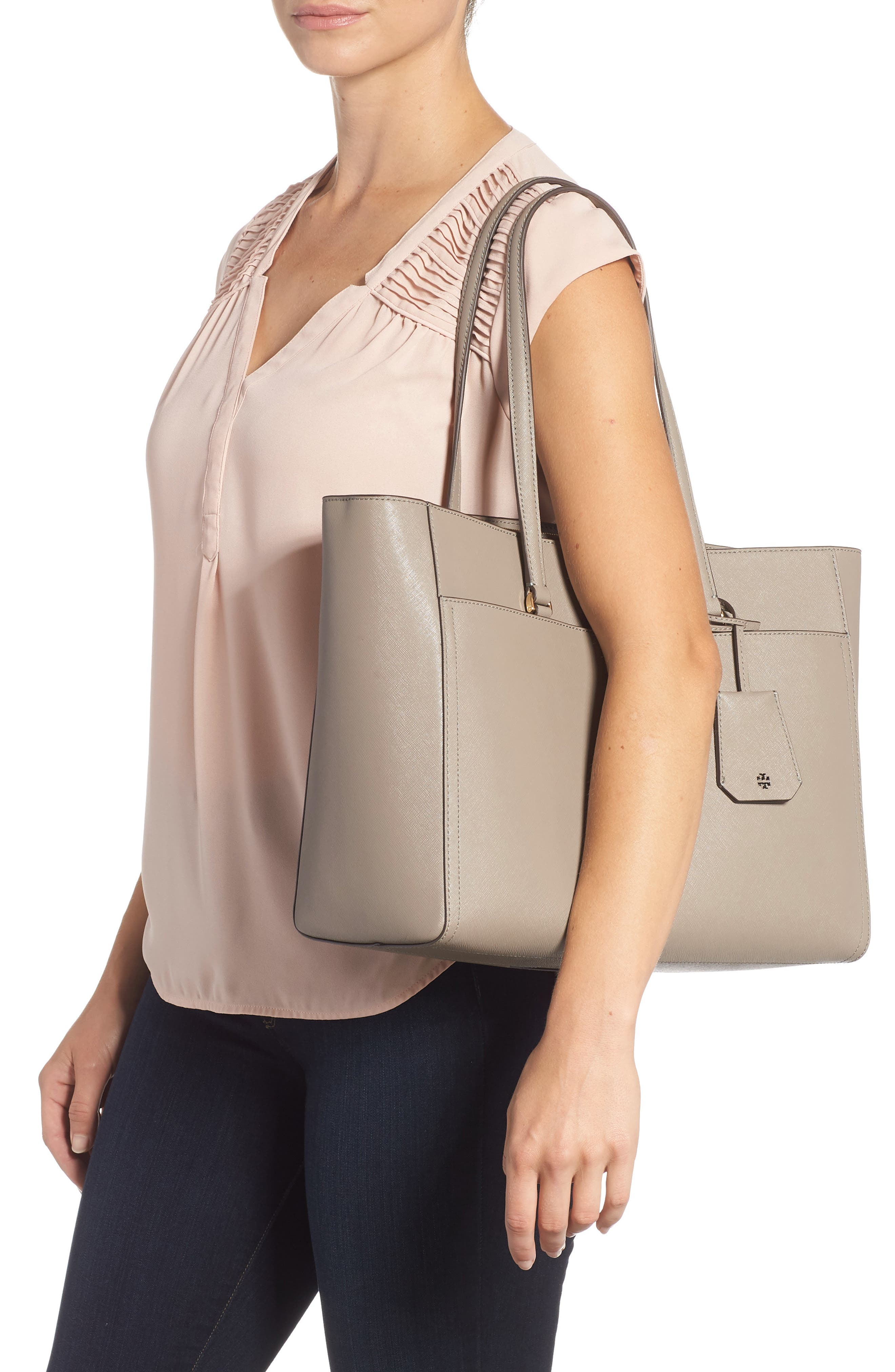 TORY BURCH, Robinson Leather Tote, Alternate thumbnail 2, color, GRAY HERON