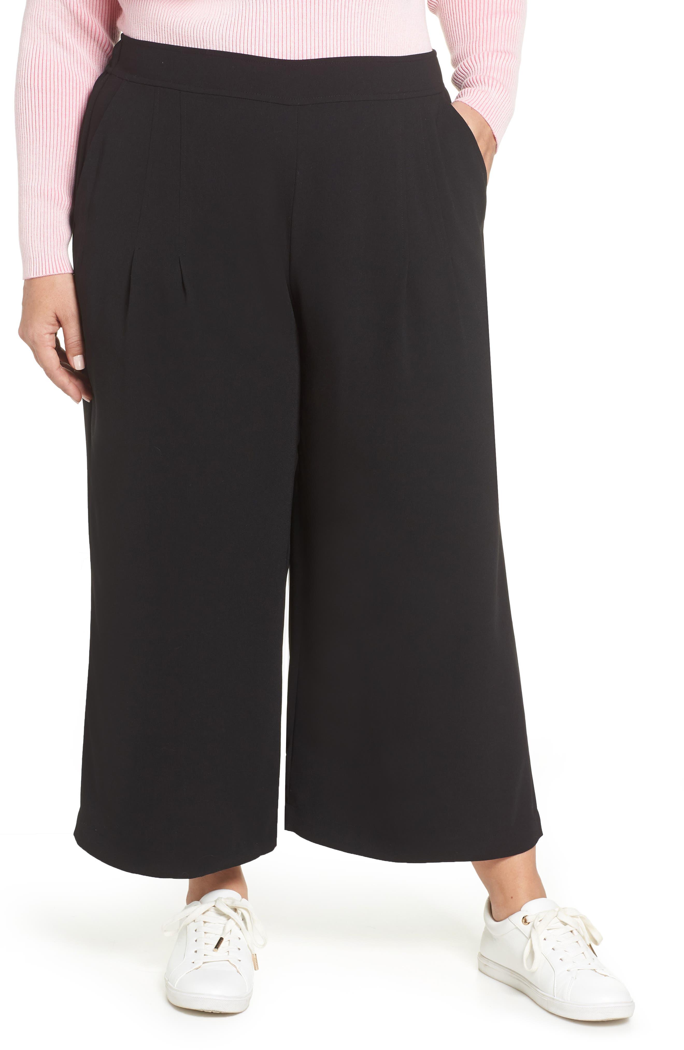 BP., High Waist Soft Wide Leg Crop Pants, Alternate thumbnail 2, color, BLACK