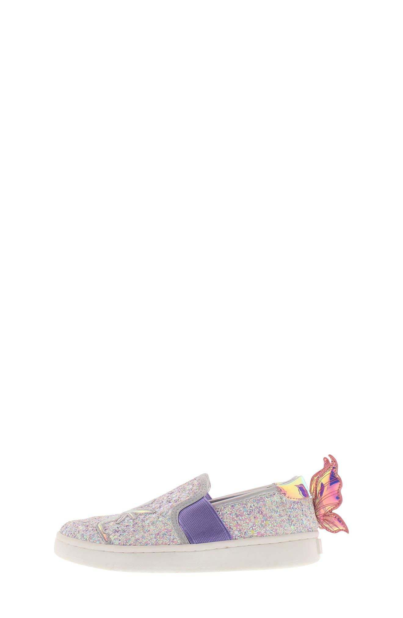 SAM EDELMAN, Blake Lina Fairy Glitter Slip-On Sneaker, Alternate thumbnail 8, color, PINK/ PURPLE