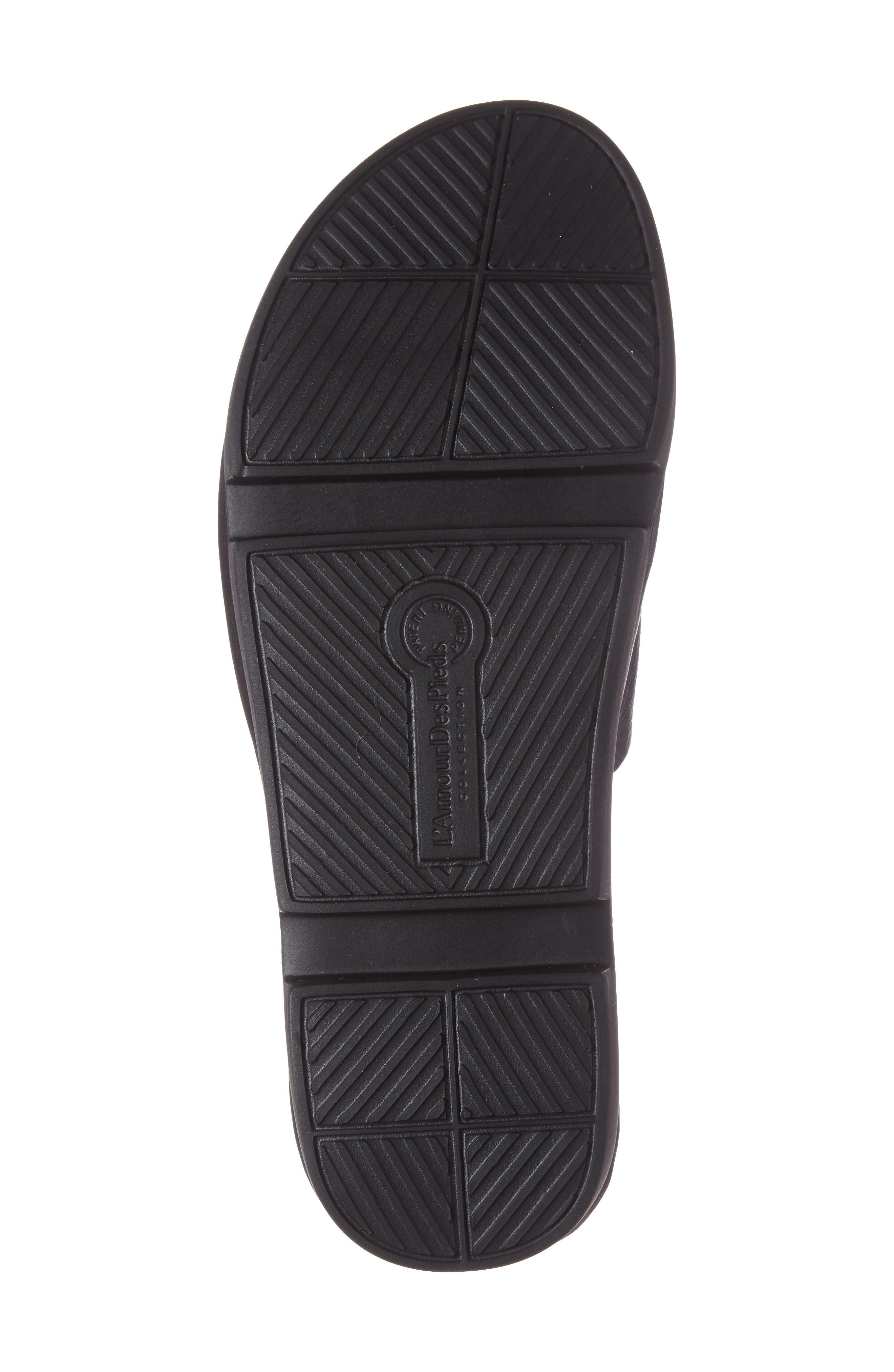 L'AMOUR DES PIEDS, Viareggio Slide Sandal, Alternate thumbnail 4, color, BLACK LEATHER