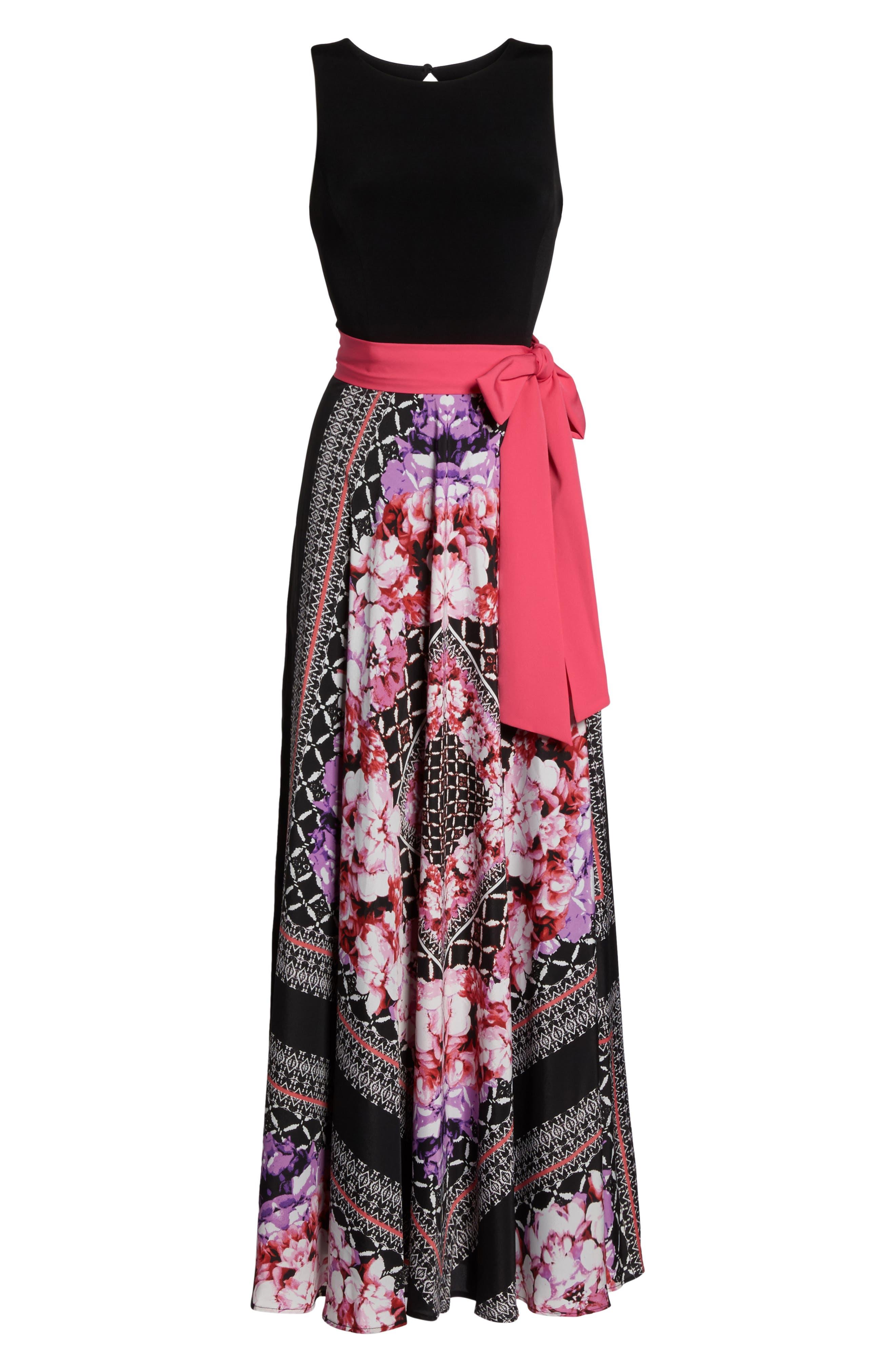 ELIZA J, Scarf Print Jersey & Crêpe de Chine Maxi Dress, Alternate thumbnail 6, color, 001