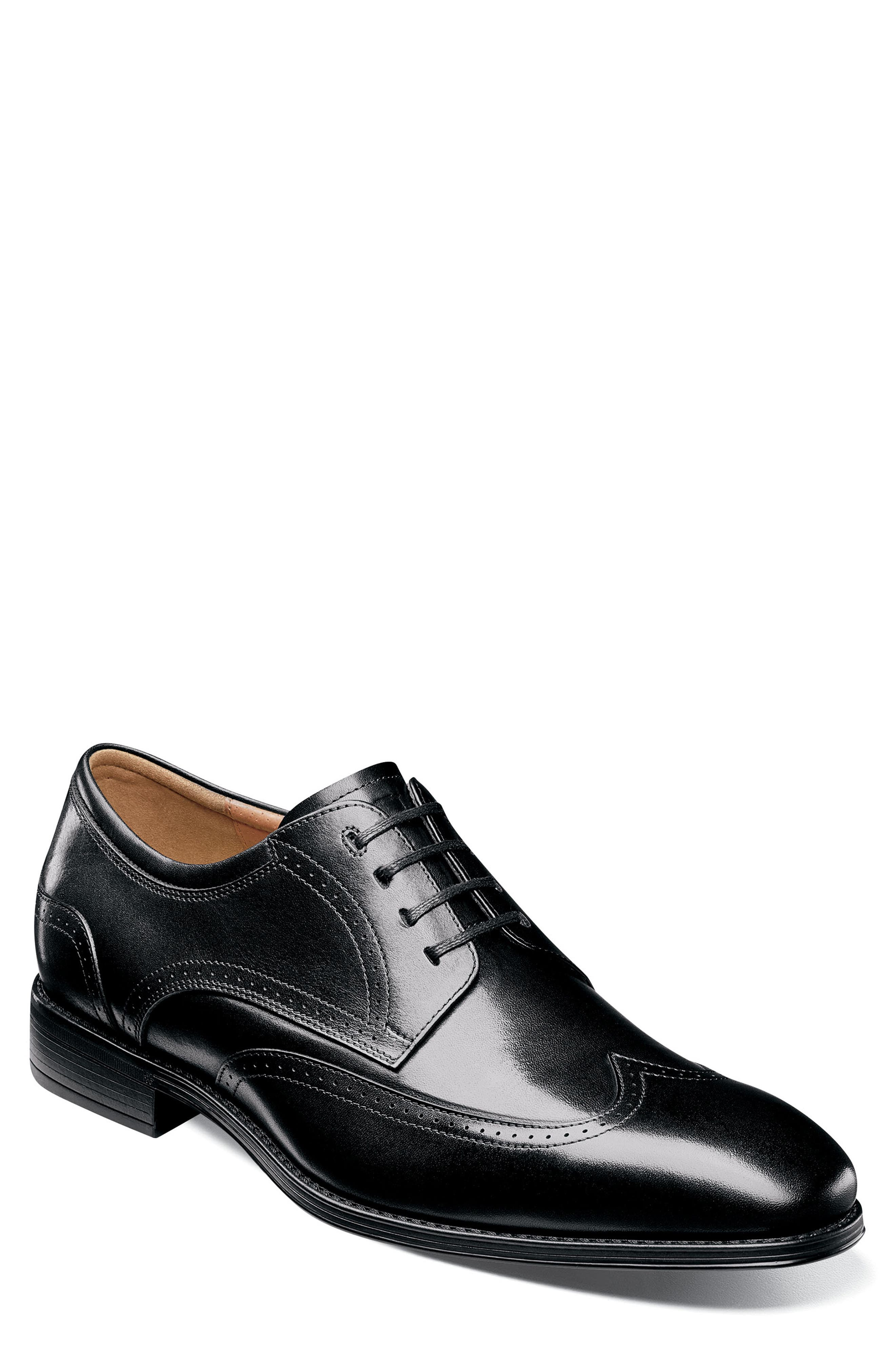 FLORSHEIM, Cardinelli Wingtip, Main thumbnail 1, color, BLACK LEATHER